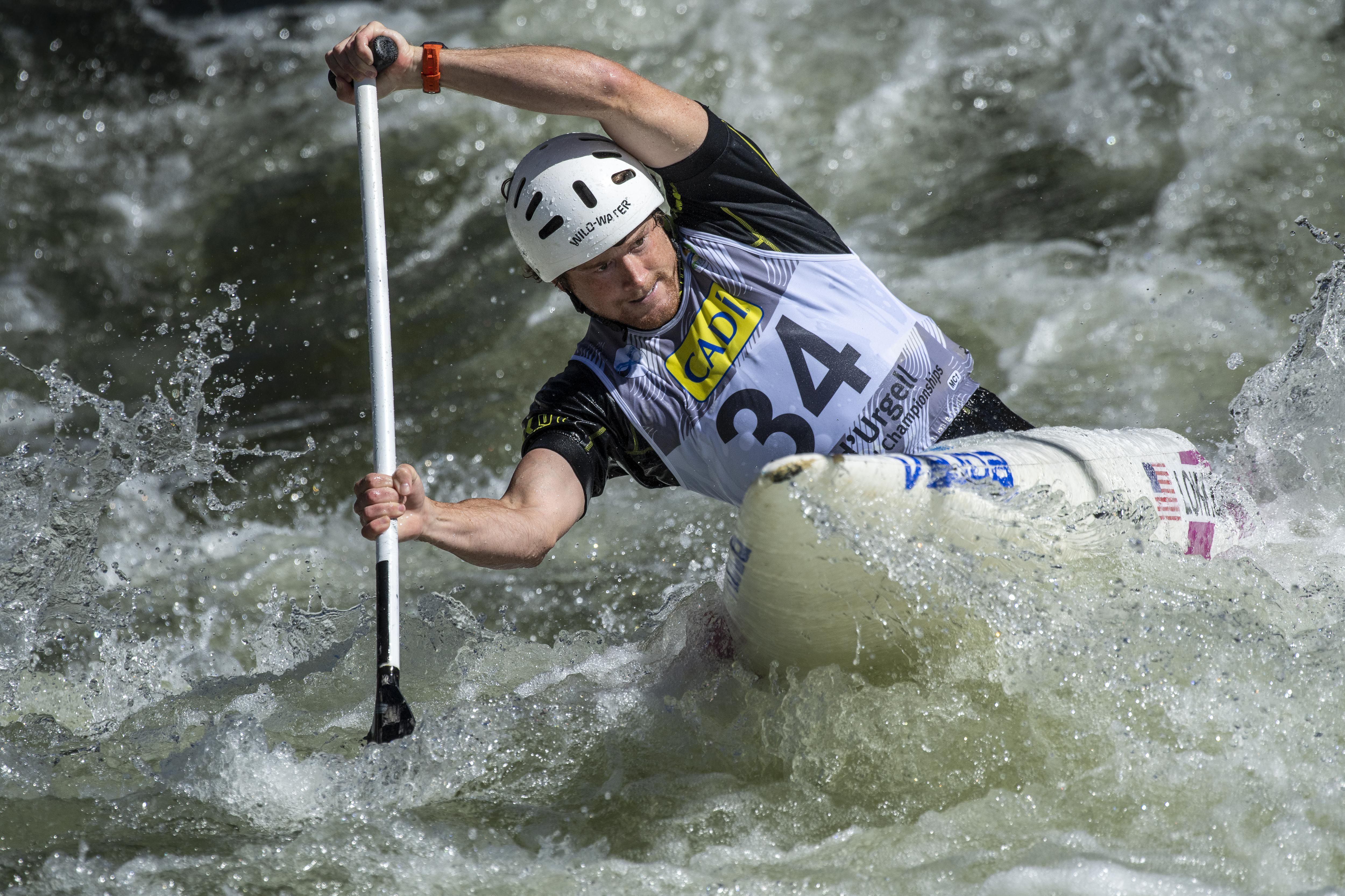 Zachary Lokken competes in the Canoe Slalom World Championships in 2019.