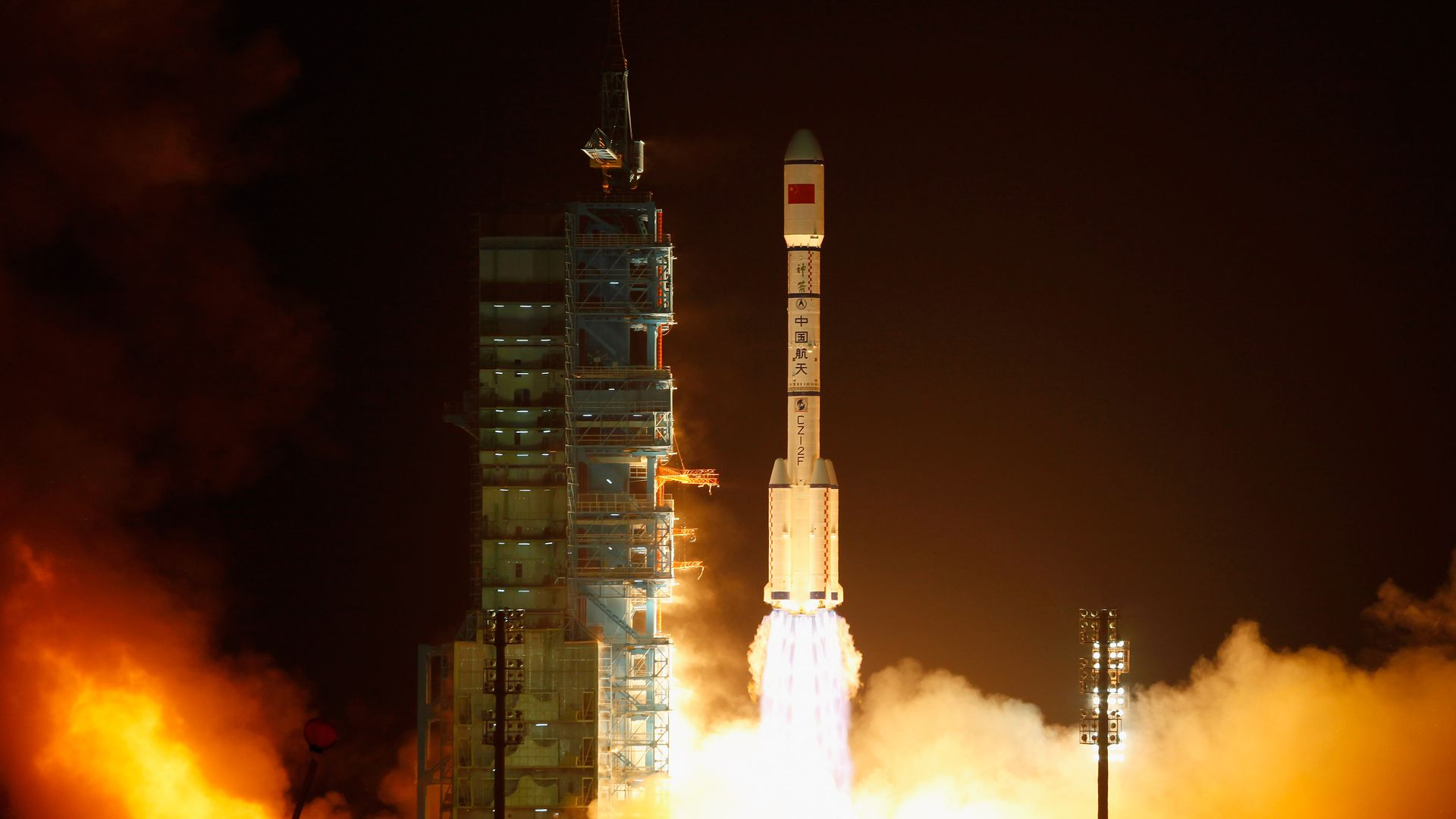 A Long March 2F rocket carrying Tiangong-1 lifts off from the Jiuquan Satellite Launch Center