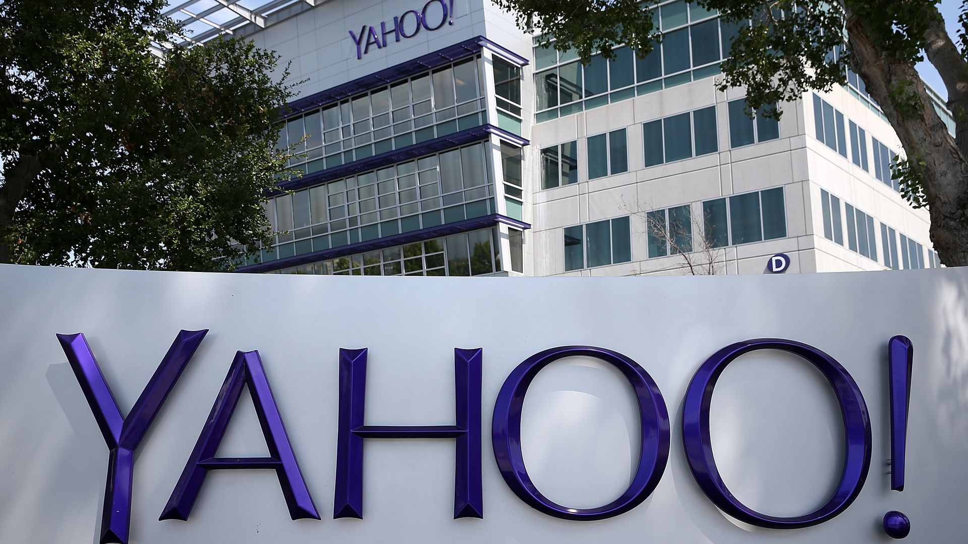 Yahoo headquarters sign.