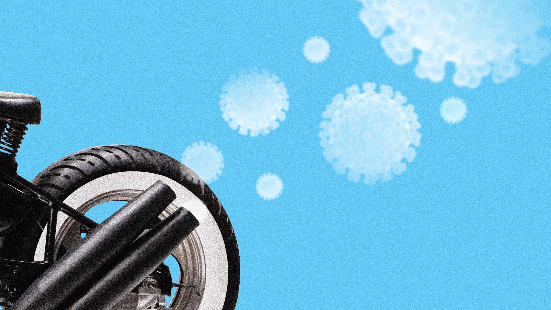 Illustration of a motorcycle exhaust fork with plumes of coronavirus exhaust coming out and dissipating in the air.