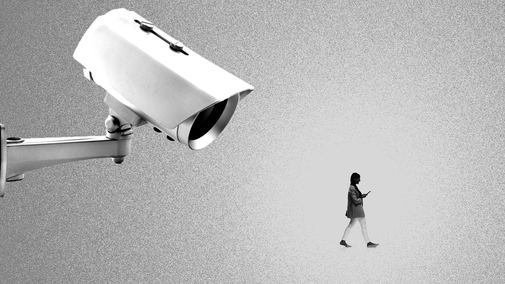 Illustration of a giant security camera watching a small person on their cell phone.