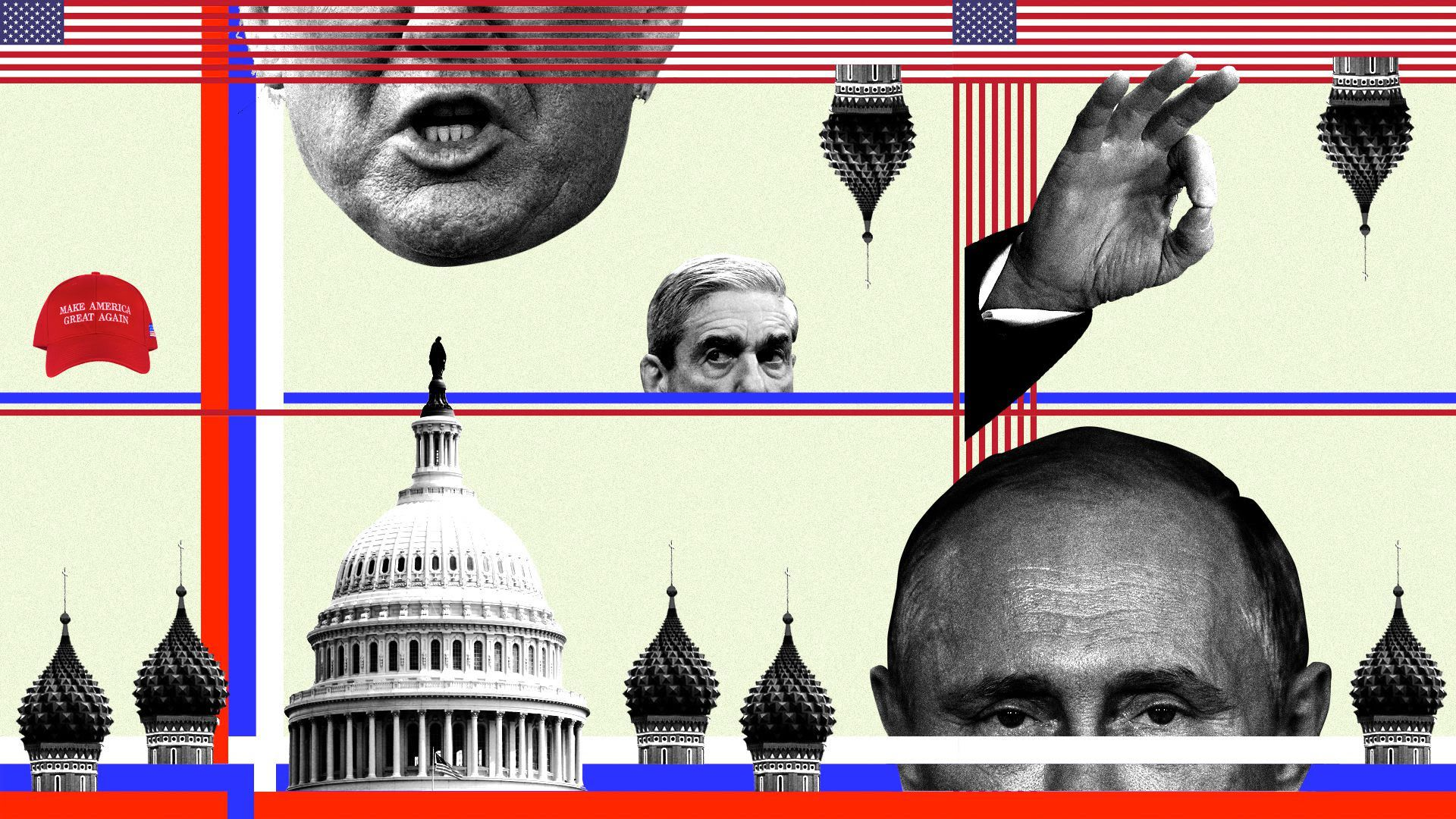 This illustration includes the faces of Trump, Mueller and Putin, in addition to to other stuff