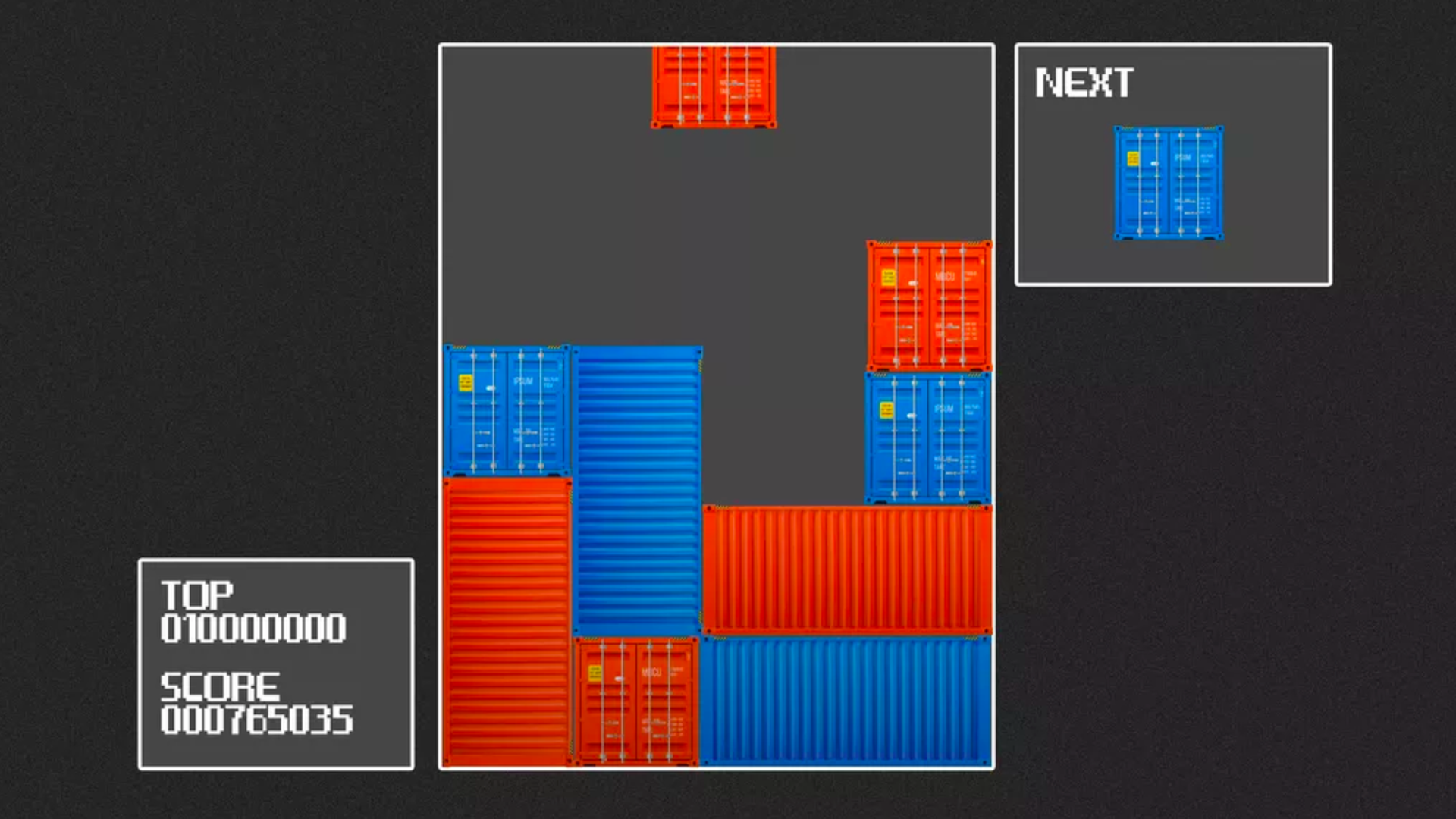 In this illustration, different colored shipping containers are played like a Tetris game.