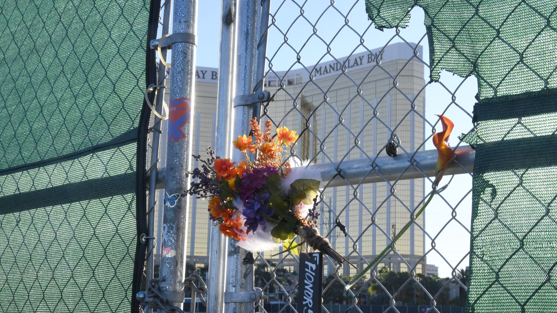 Flowers in front of the Mandala Bay hotel to remember the 2017 Las Vegas shooting victims
