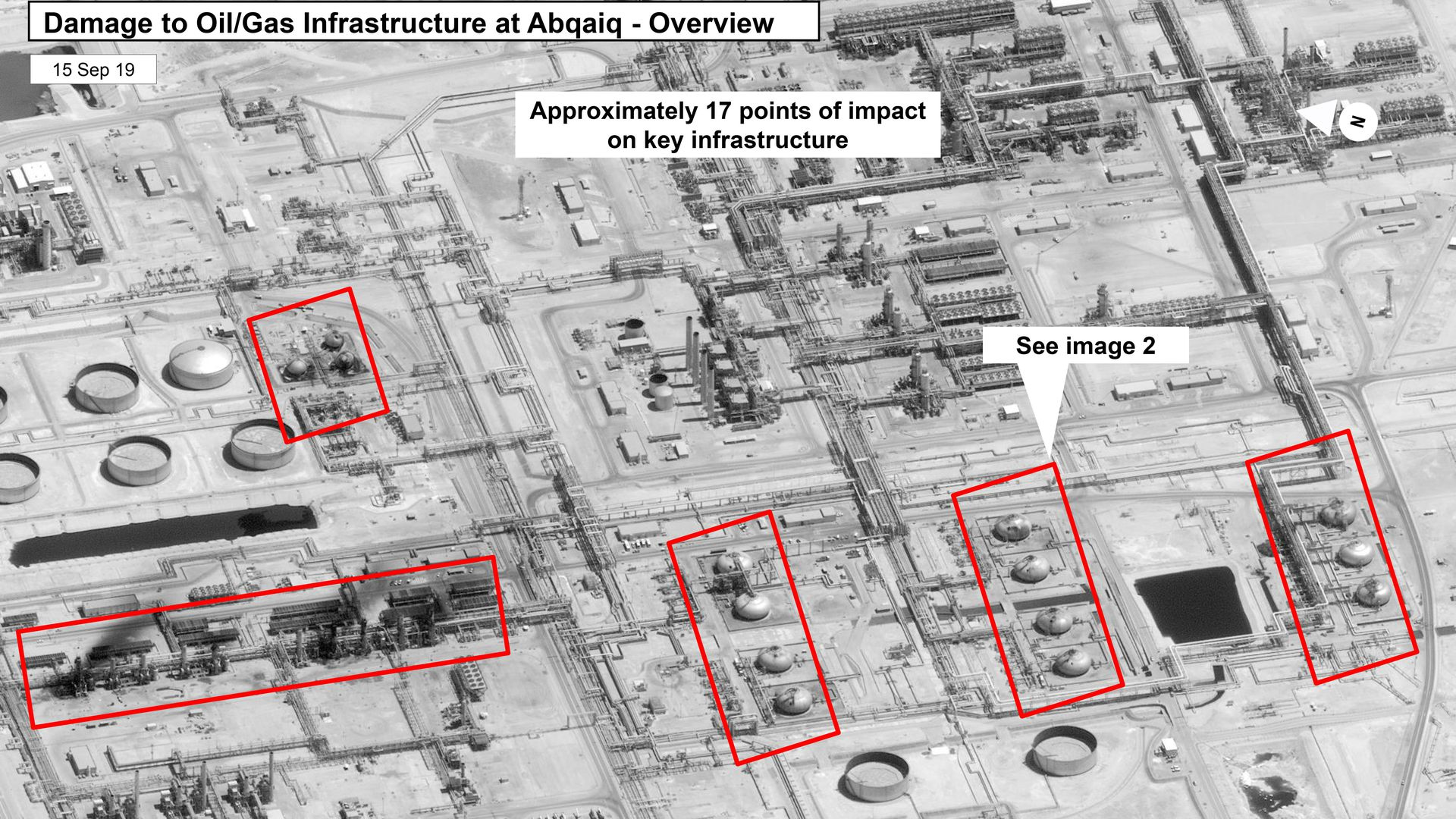 This satellite image shows damage to Saudi Aramco's Abaqaiq oil processing plant.