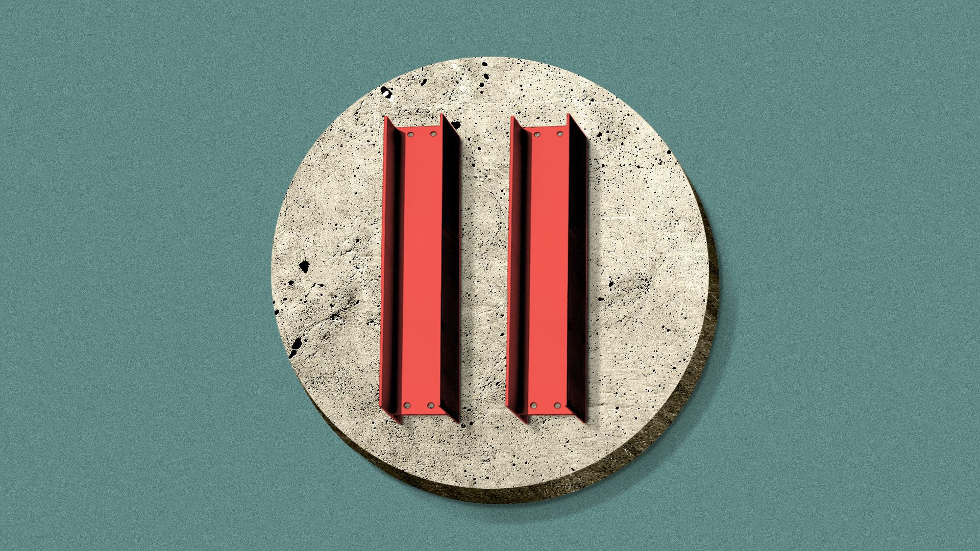 Illustration of a pause button made out of a concrete circle and two steel girders.