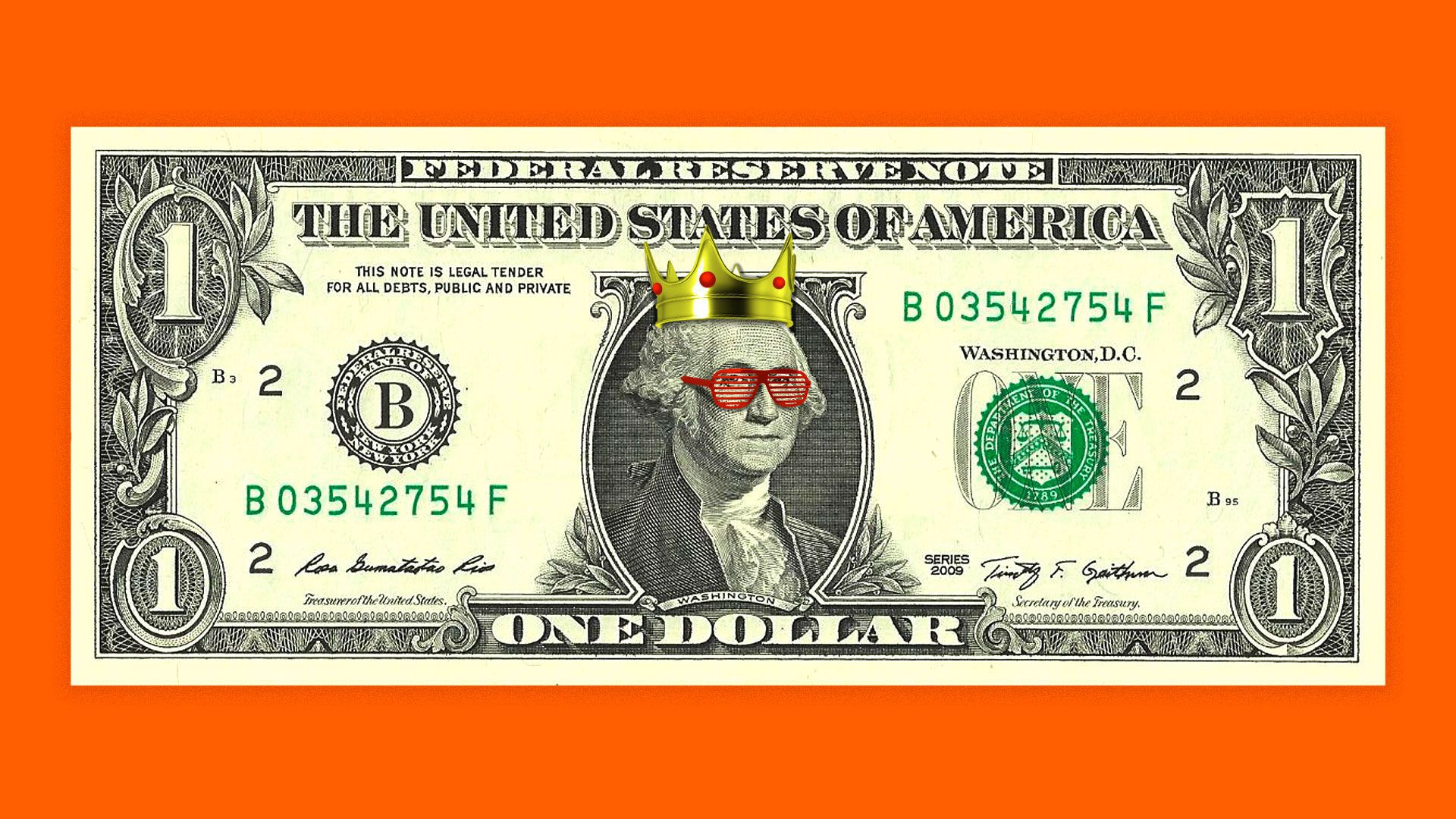 George Washington on the dollar bill wearing a crown and shutter shades