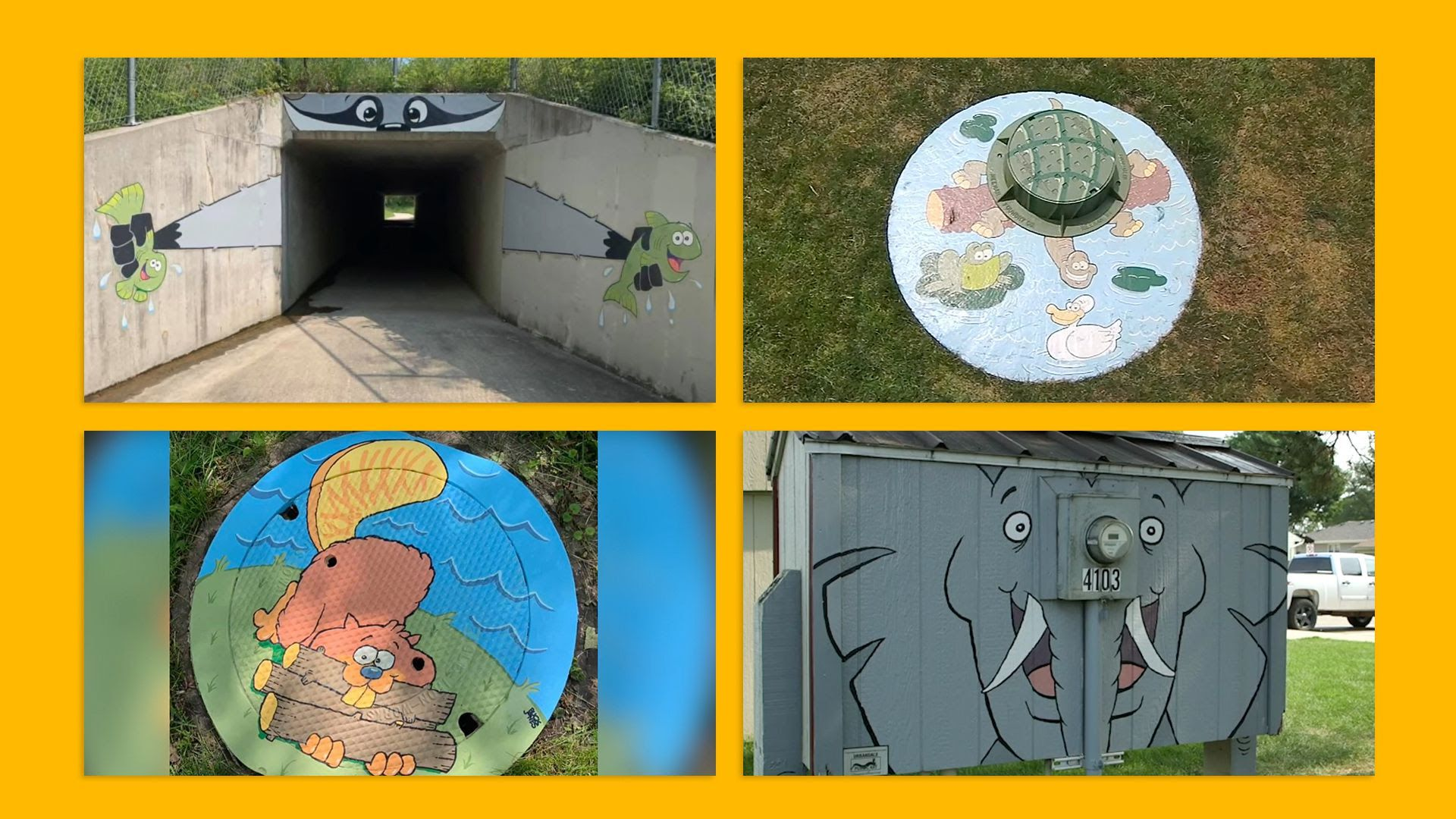 Four photos of art on drain lids, an electric meter and a tunnel in Urbandale, Iowa.