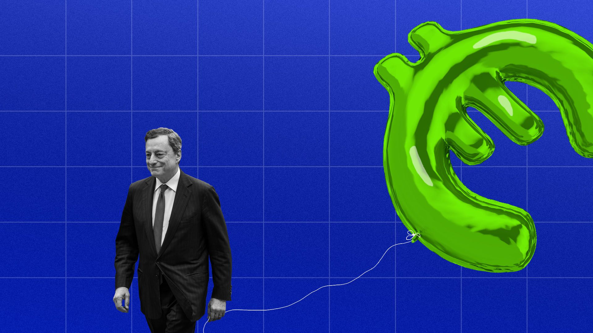 Illustration of Mario Draghi holding a euro sign balloon against the backdrop of a line graph
