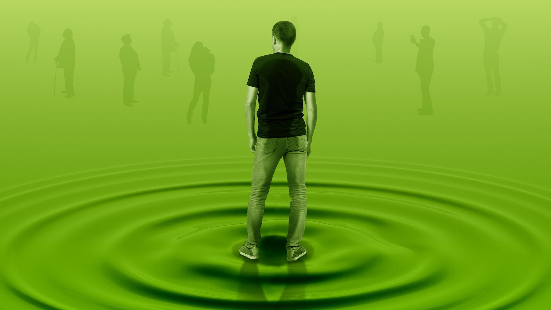 Illustration of a person from behind standing on a spreading ripple going out to figures in the distance