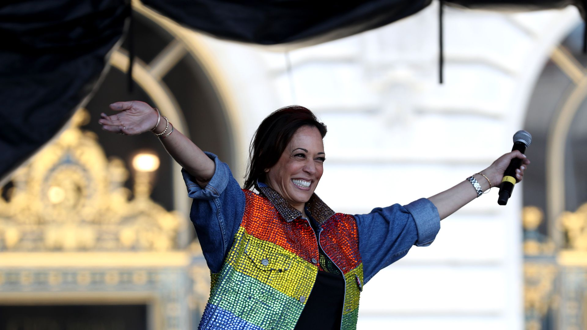 Democratic presidential candidate U.S. Sen. Kamala Harris (D-CA) speaks during the SF Pride Parade on June 30, 2019 in San Francisco, California.
