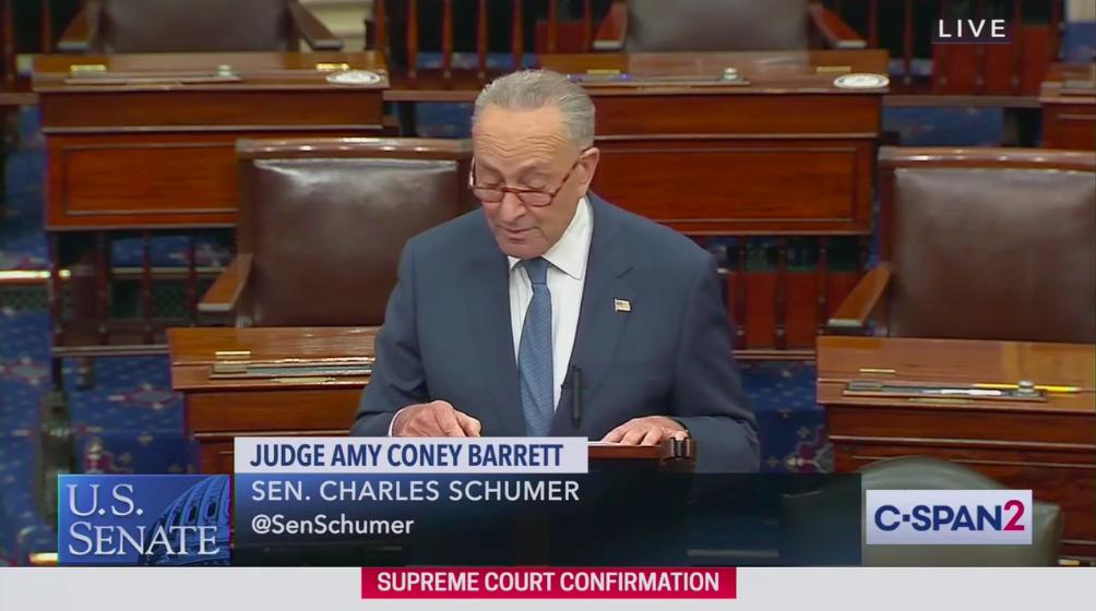 "Schumer: Coney Barrett vote ""one of the darkest days"" in Senate history"