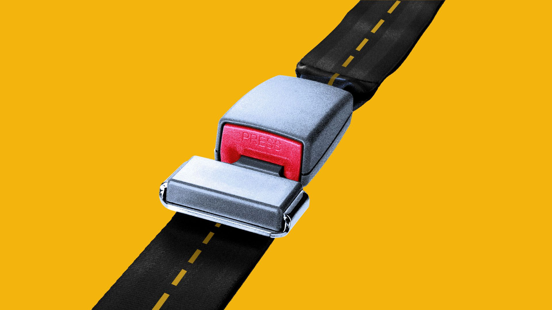 Illustration of a seat belt with a yellow road markings