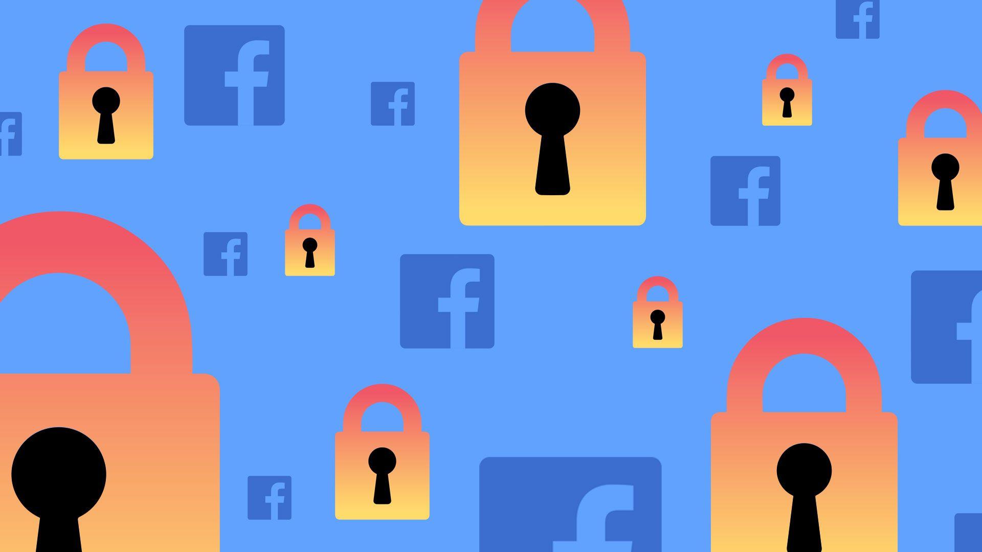 In this illustration, the Facebook logo floats on a light blue background alongside orange-red locks.