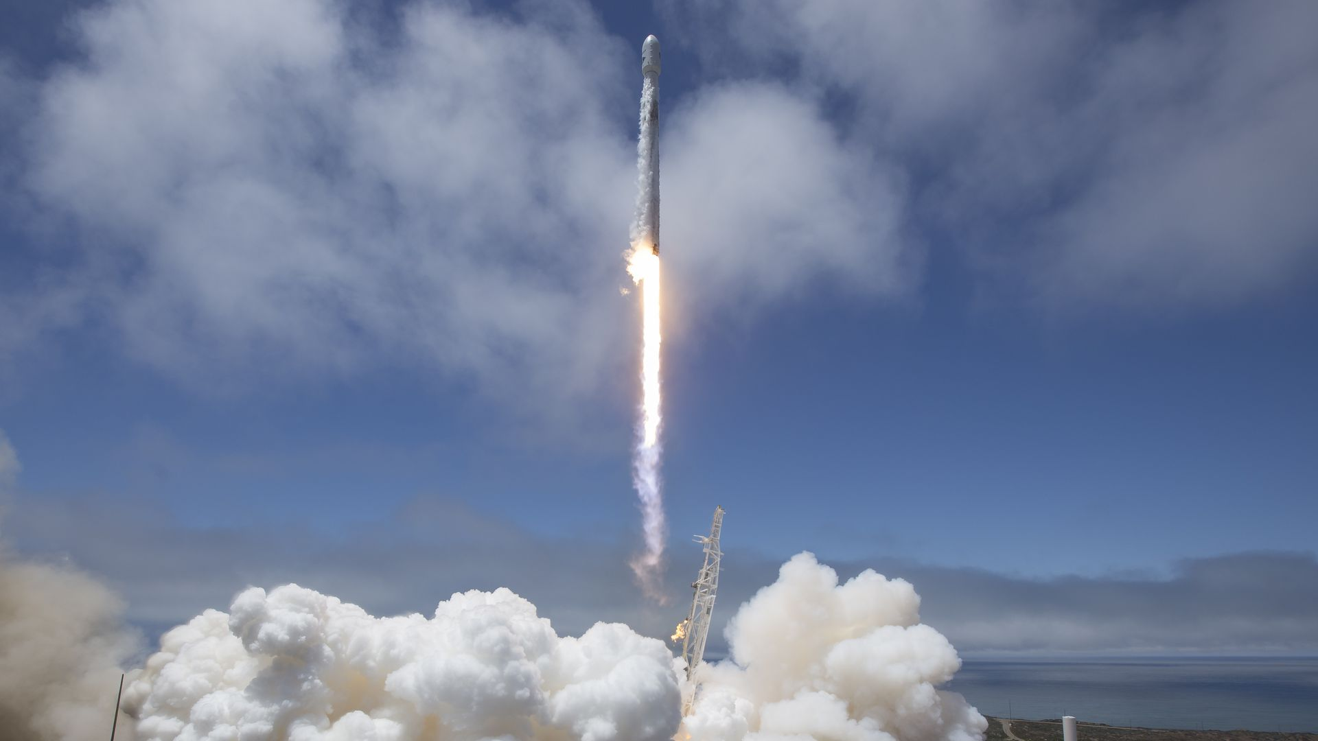 A Falcon 9 rocket taking off
