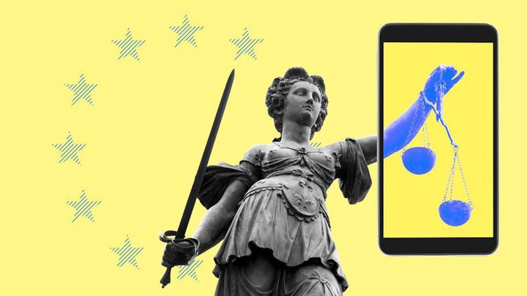 Illustration of British statue Lady Justice holding a sword and a giant iPhone with balance on it