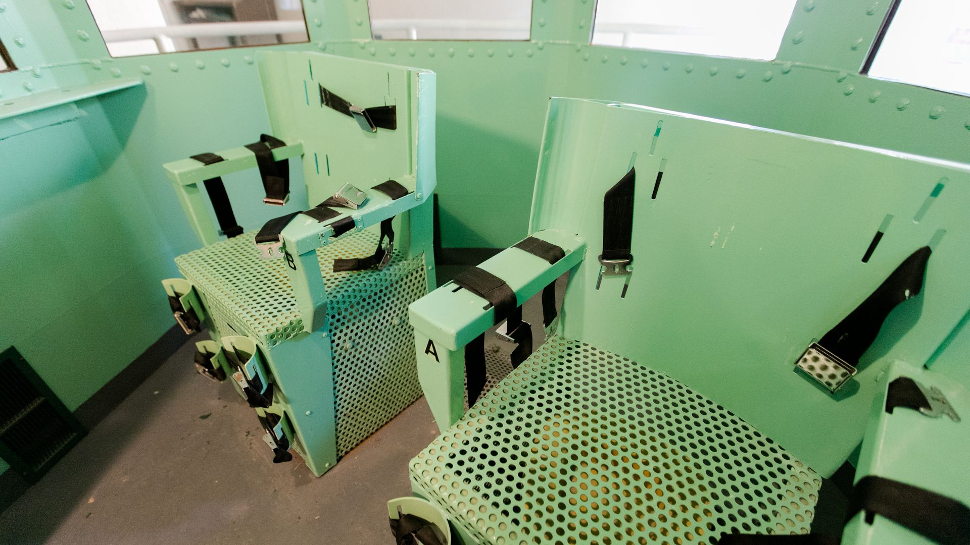 San Quentin's death row gas chamber is shown before being dismantled at San Quentin State Prison on March 13, 2019 in San Quentin, California.