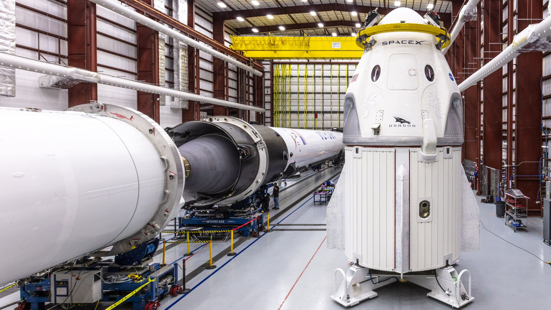 SpaceX's Crew Dragon capsule ahead of launch.