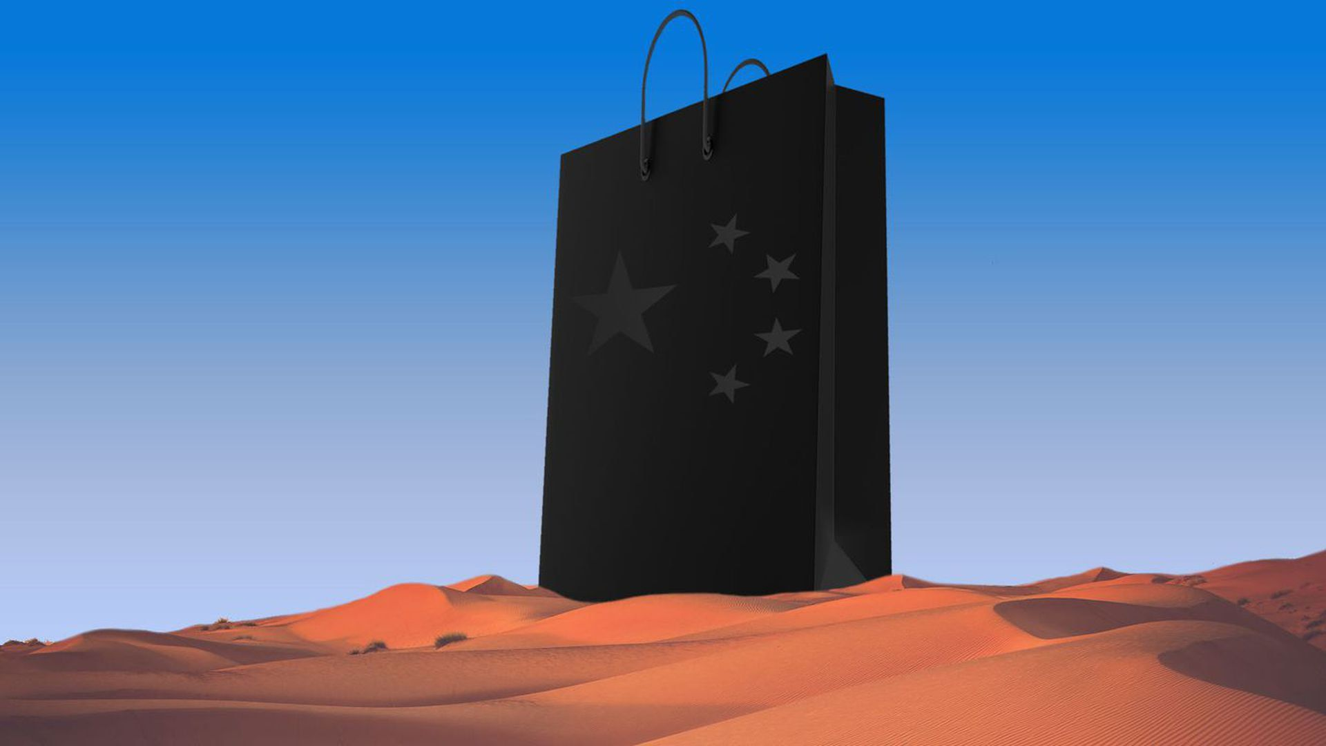 illustration of a black grocery bag with chinese stars on it in the middle of the desert