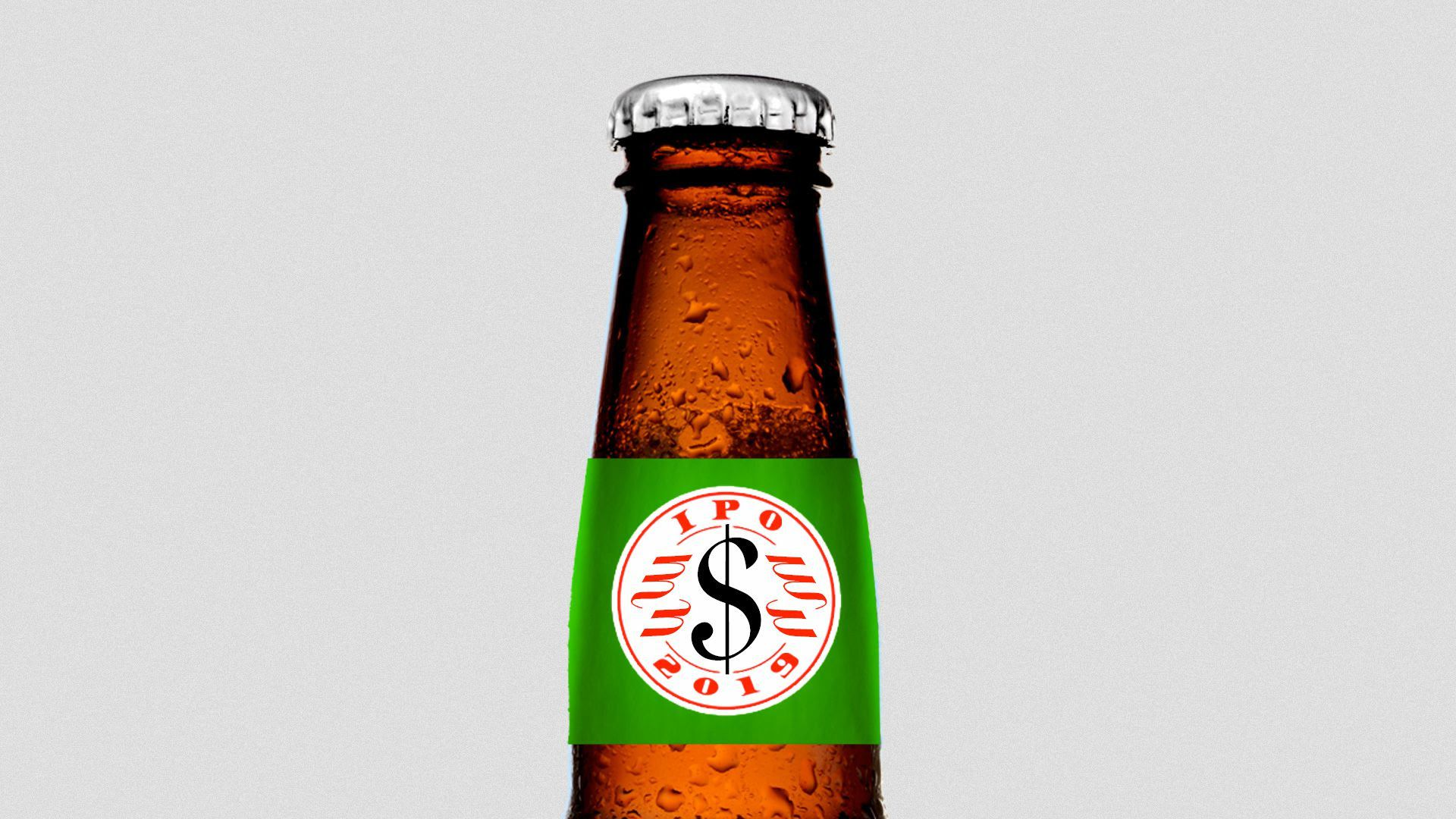 A mock bottle of an IPA beer with the logo reading IPO instead.
