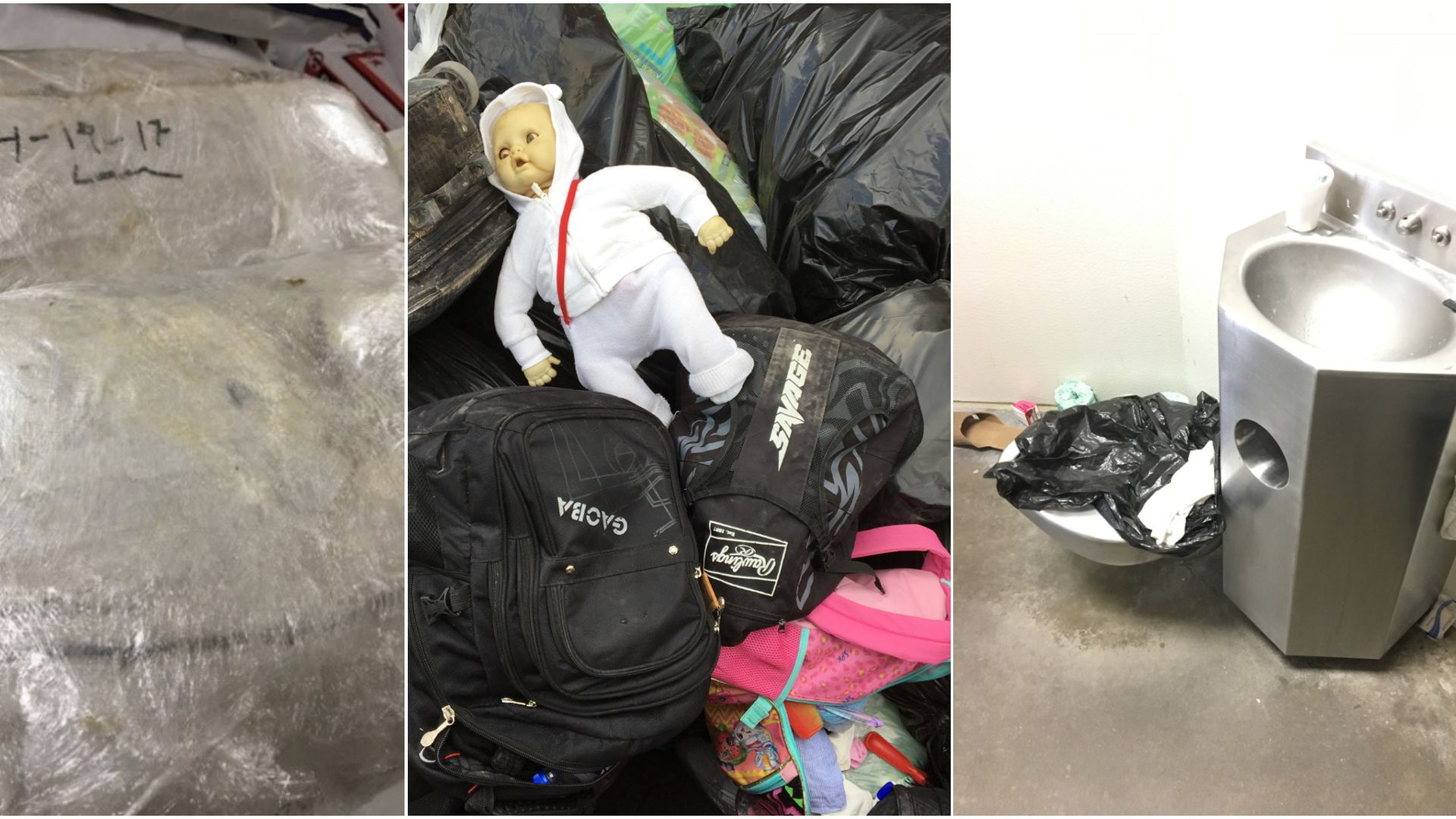 A three part image showing expired bags of food, a pile of discarded luggage and a dirty bathroom.