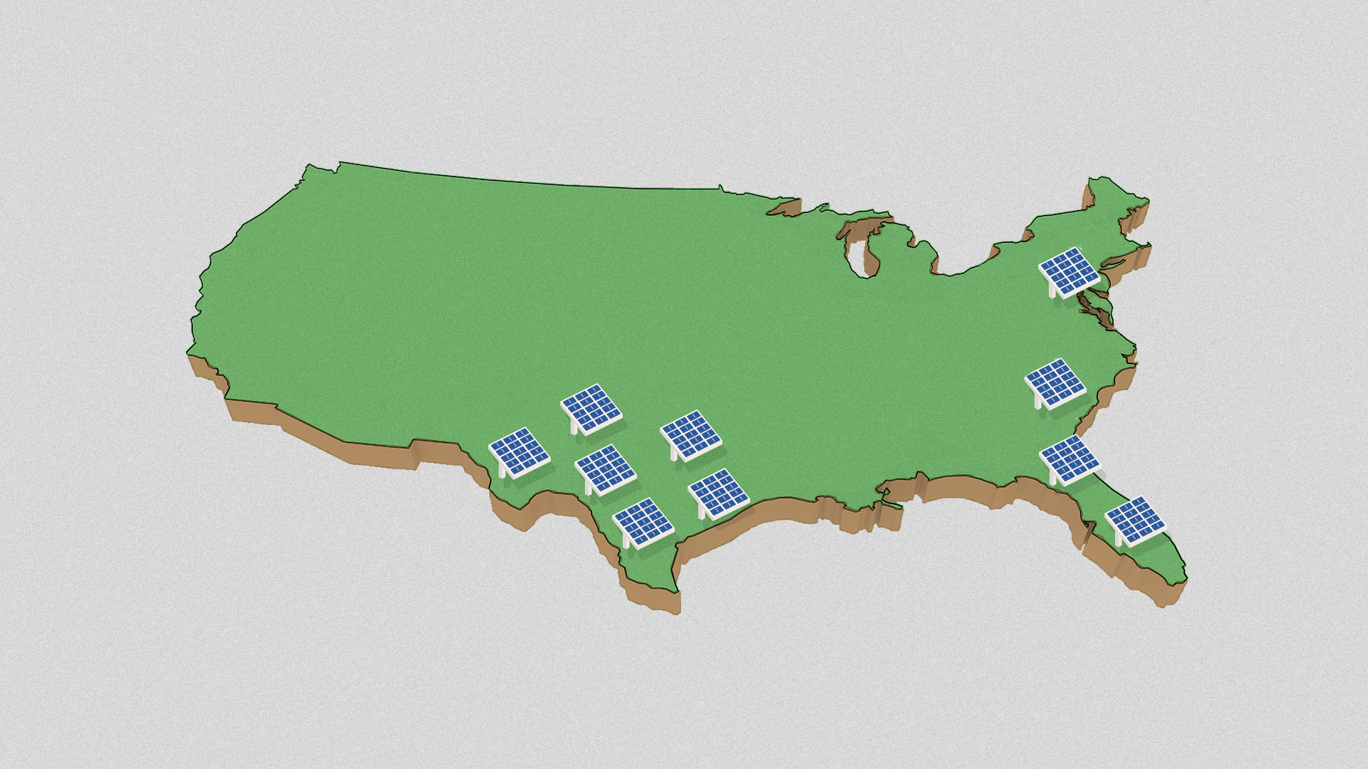 Illustration of the United States with solar panels clustered around the Texas, Florida, South Carolina and Maryland.
