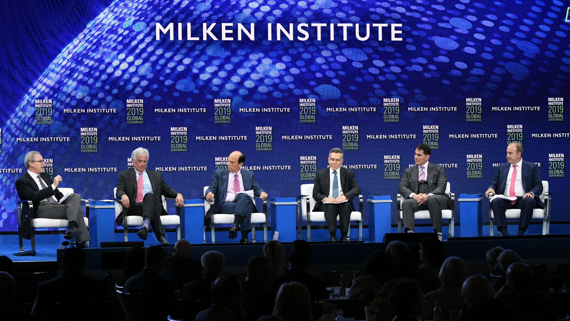 "Six white men discuss ""Common Sense from Uncommon Investors"" at this year's Milken Global Conference."