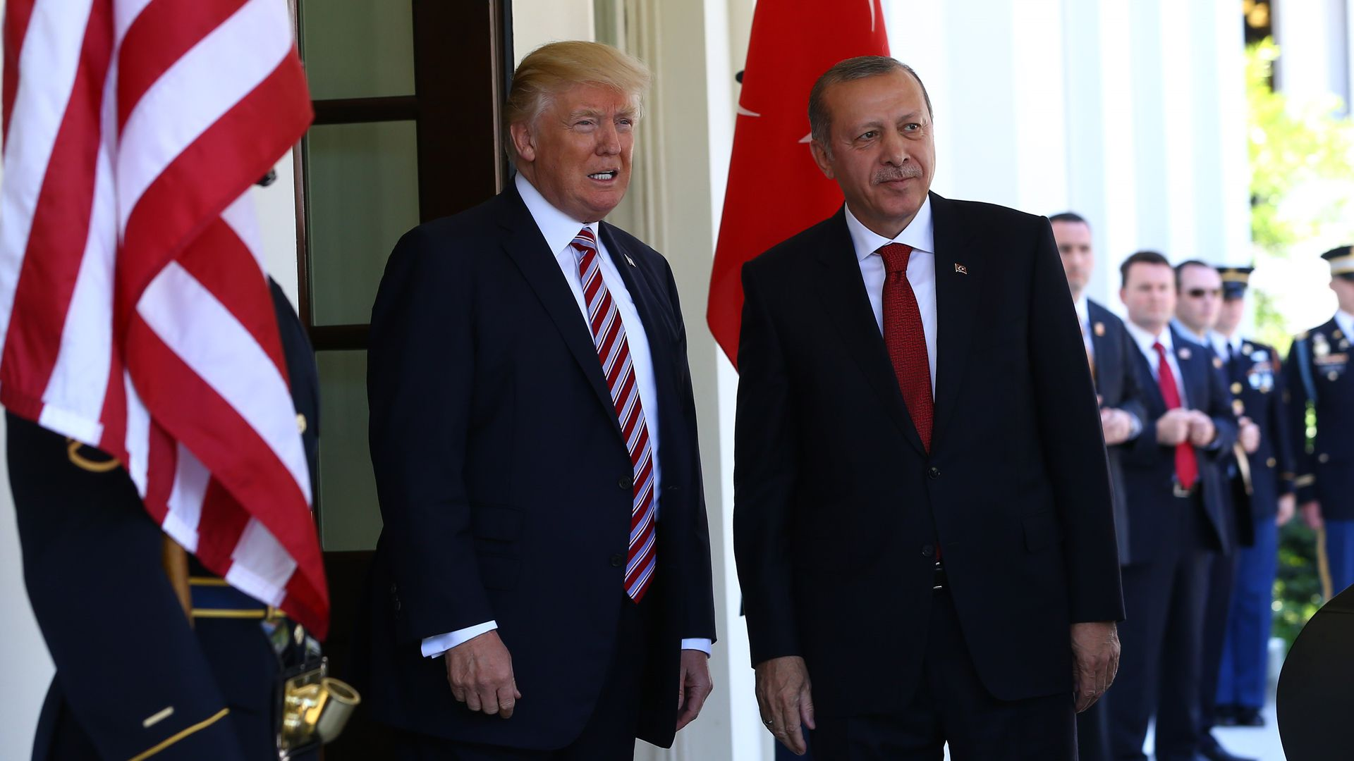 President Trump and President Erdogan stand side-by-side outside the White House