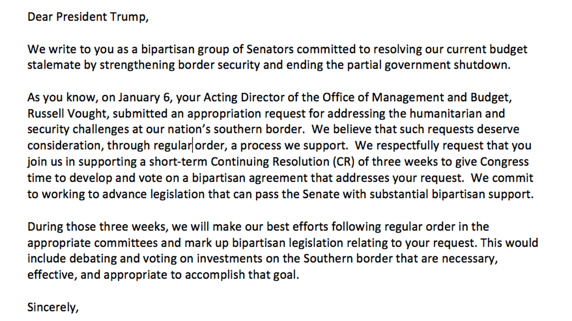 Read the leaked draft of a Senate bipartisan shutdown letter to
