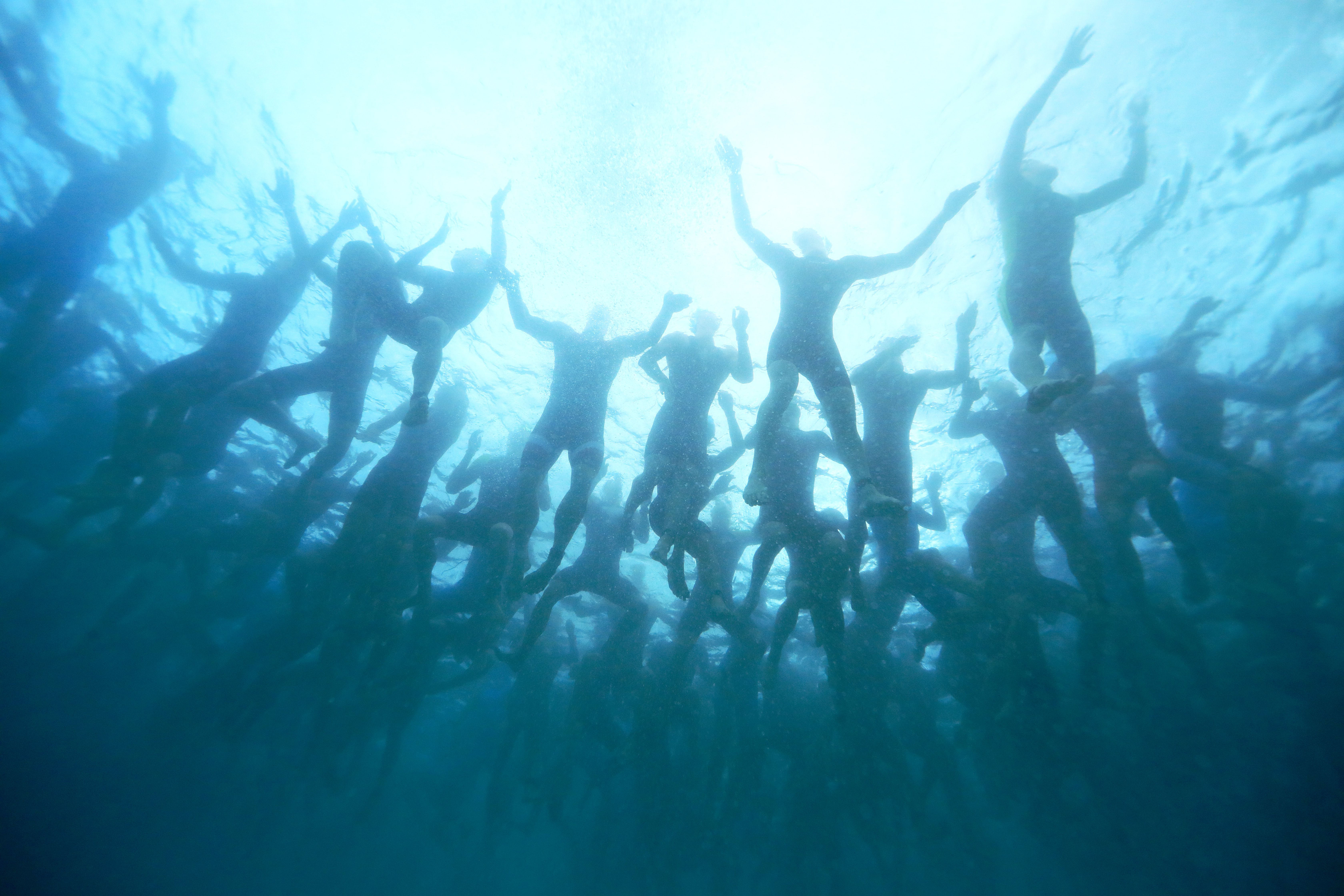 Swimmers during the Ironman