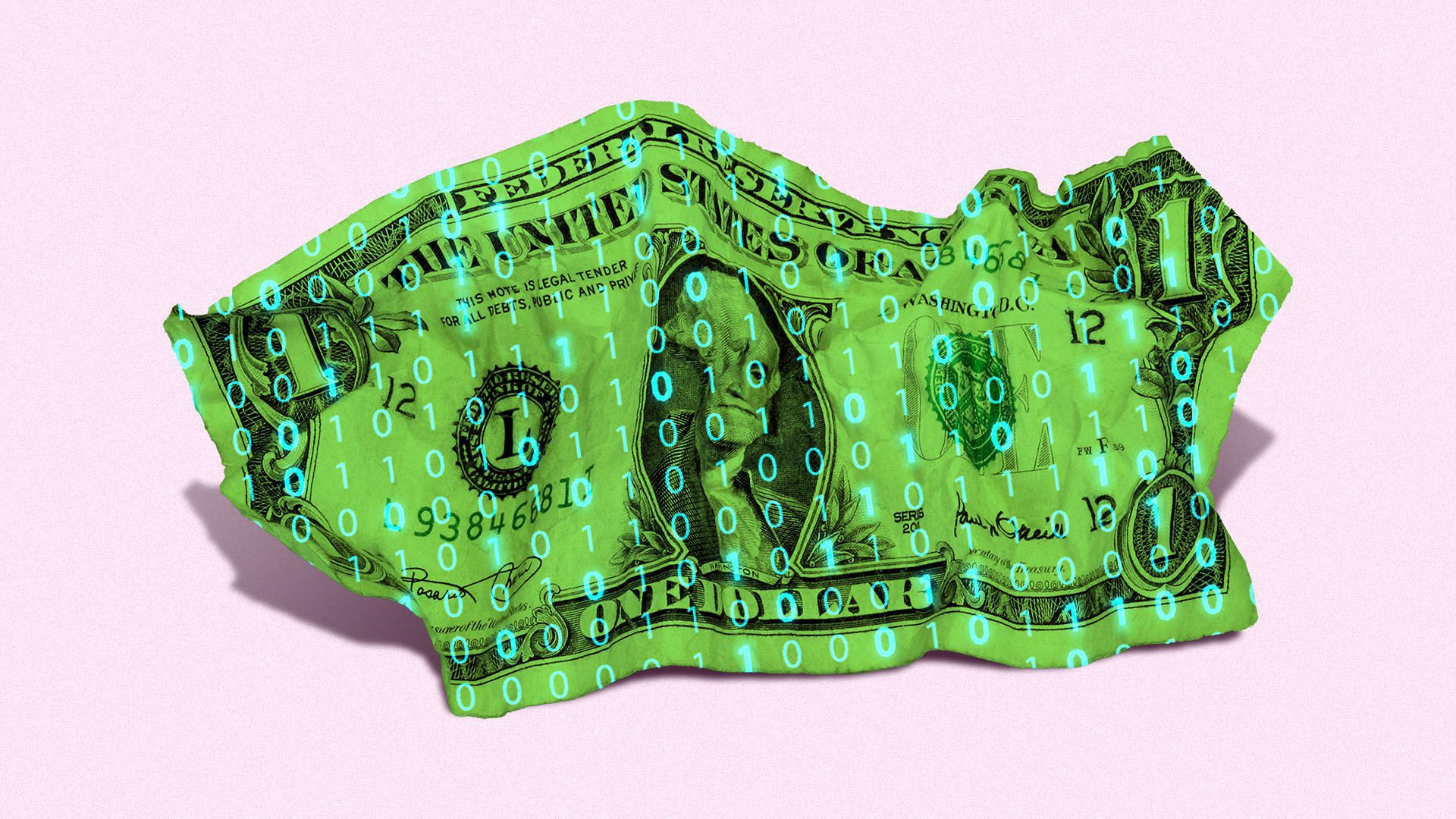 Illustration of a crumpled dollar bill with binary code over it