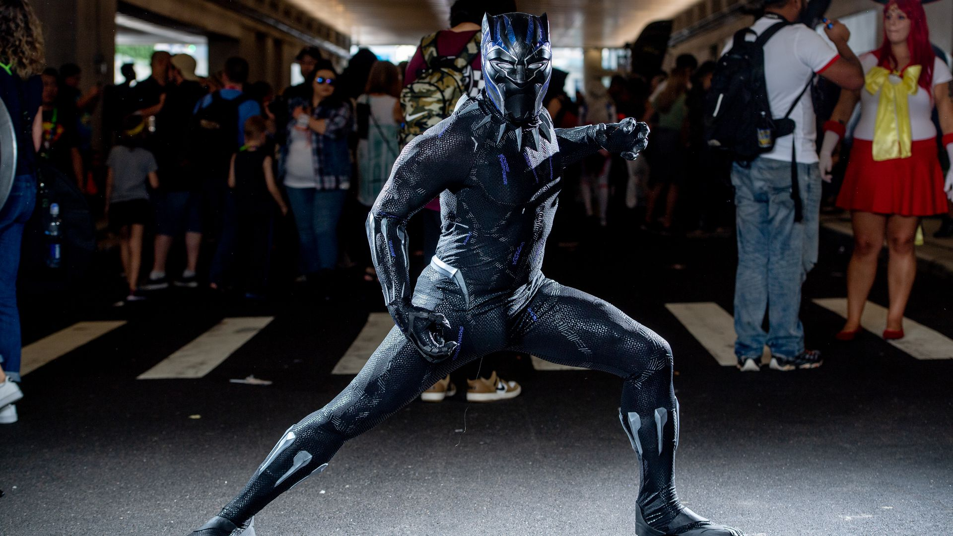 Someone dressed as Black Panther during Comic Con.