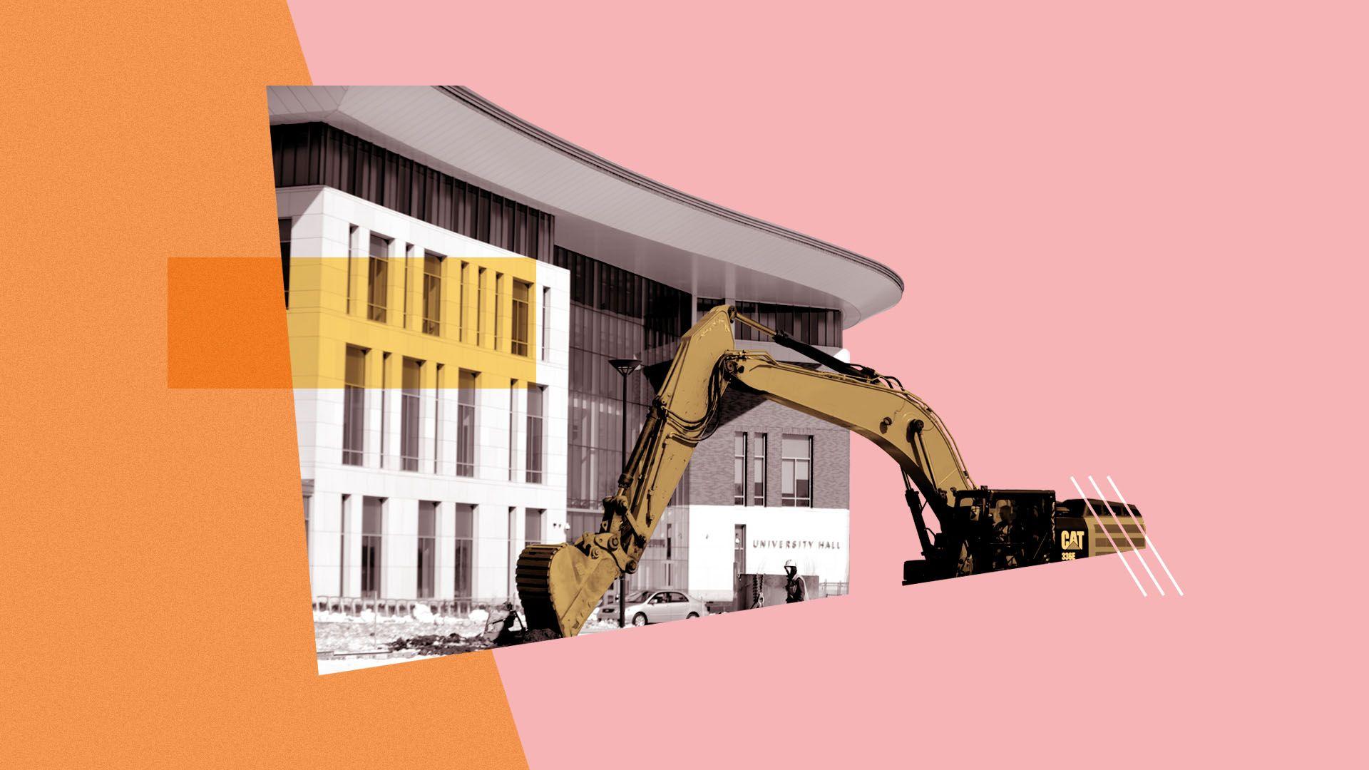 Photo illustration of construction taking place at UMass Boston