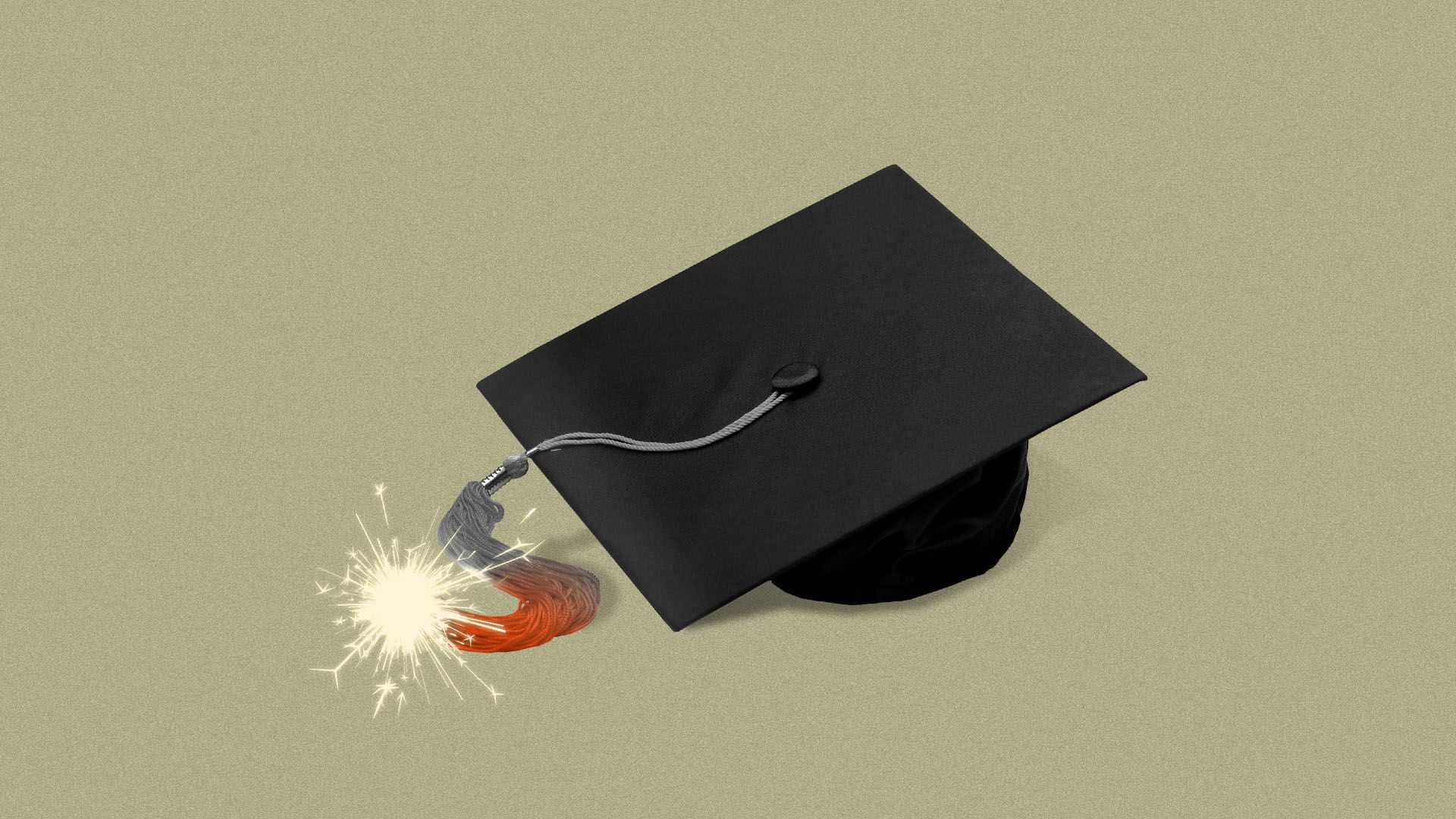 Illustration of college graduation cap with a fuse lit at the end