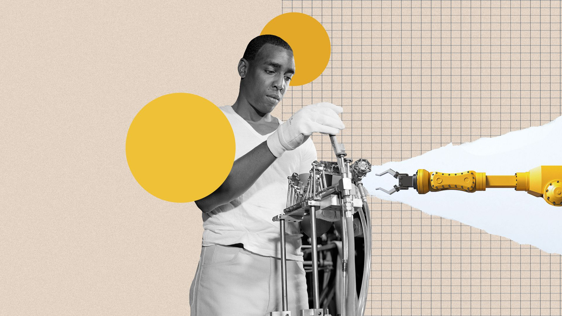 Photo illustration collage of an African American man working on a cathode ray tube machine with an automation arm reaching out towards him.