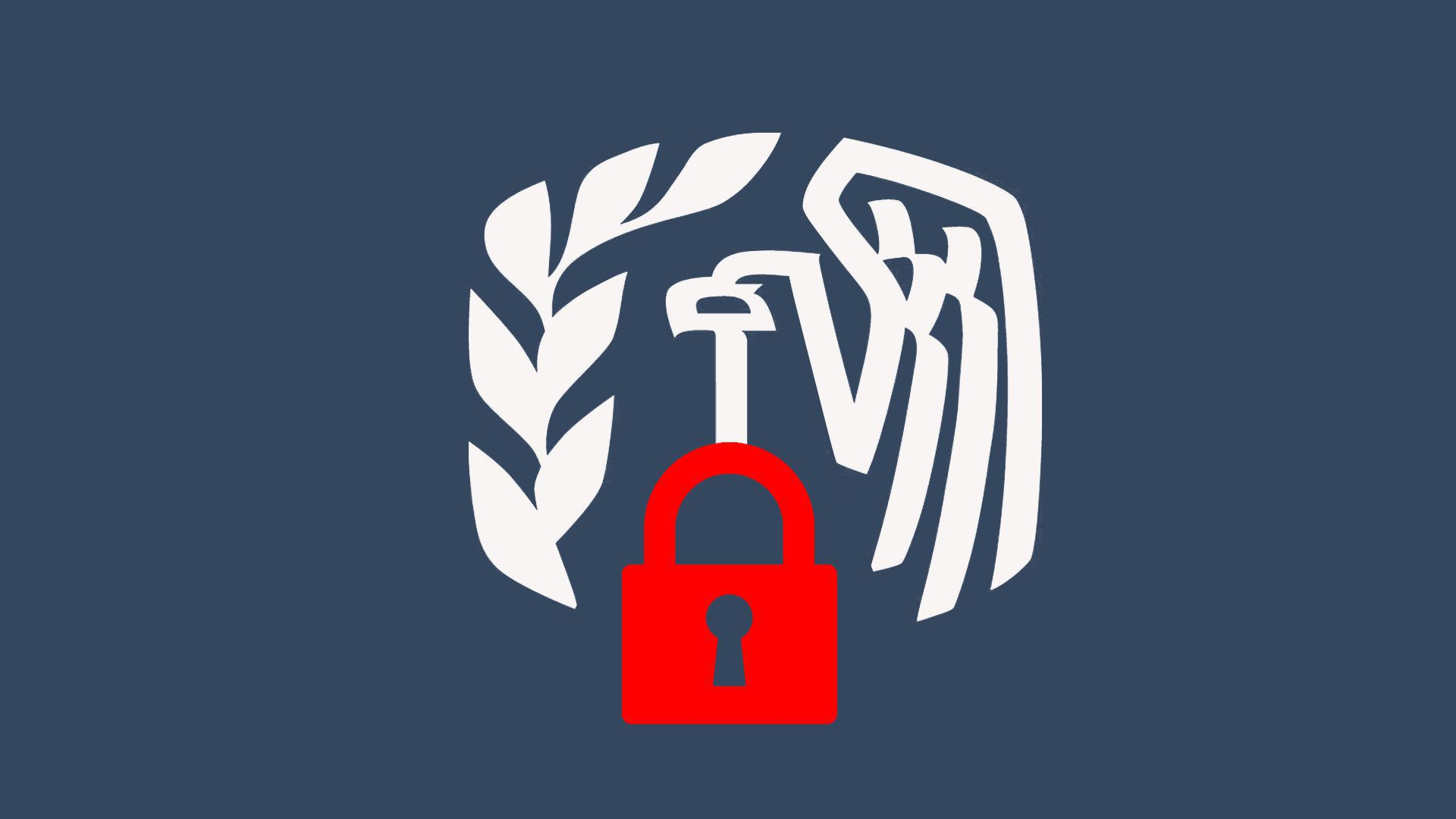 Illustration of IRS logo with lock
