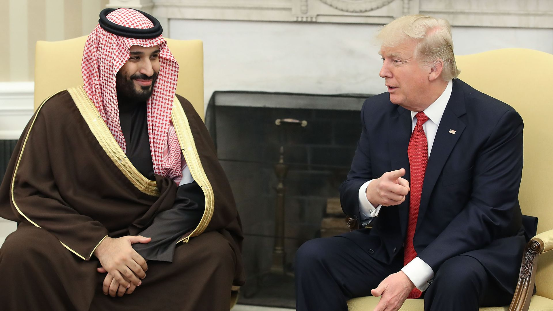 President Trump and Saudi Crown Prince Mohammed Bin Salman seated next to each other in Oval Office