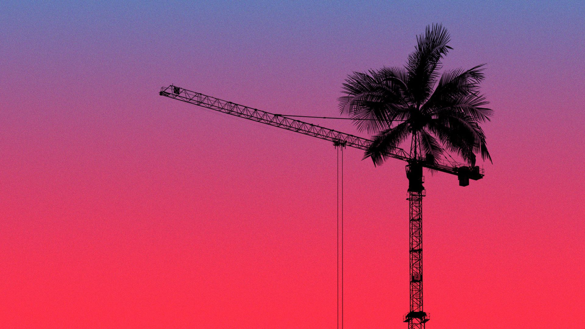 Illustration of a construction crane with palm tree leaves on top of it.