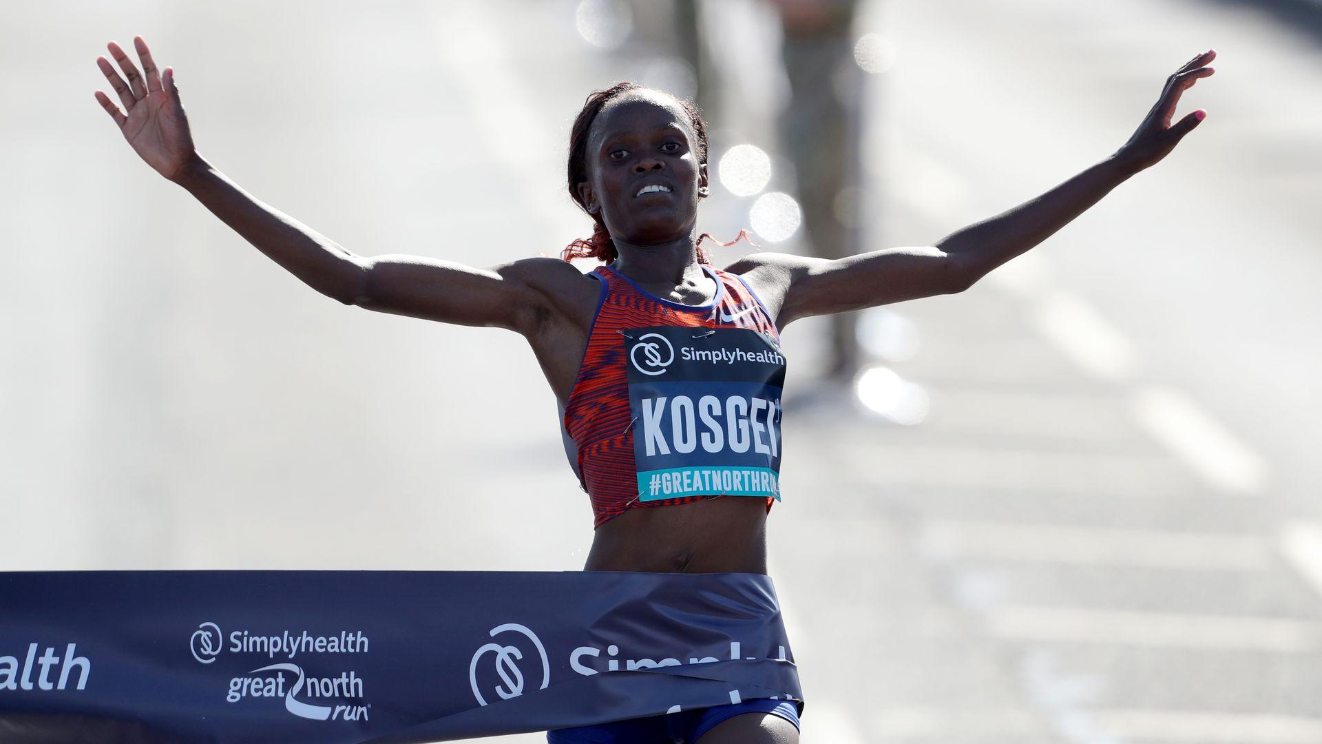 Brigid Kosgei winning a marathon in 2019 in Newcastle, Great Britain.