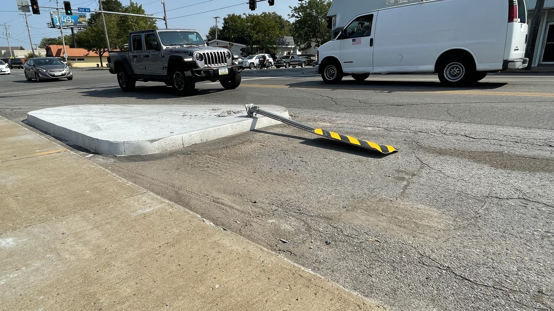 A photo of a concrete curb bump-outs added along Euclid Avenue recently.