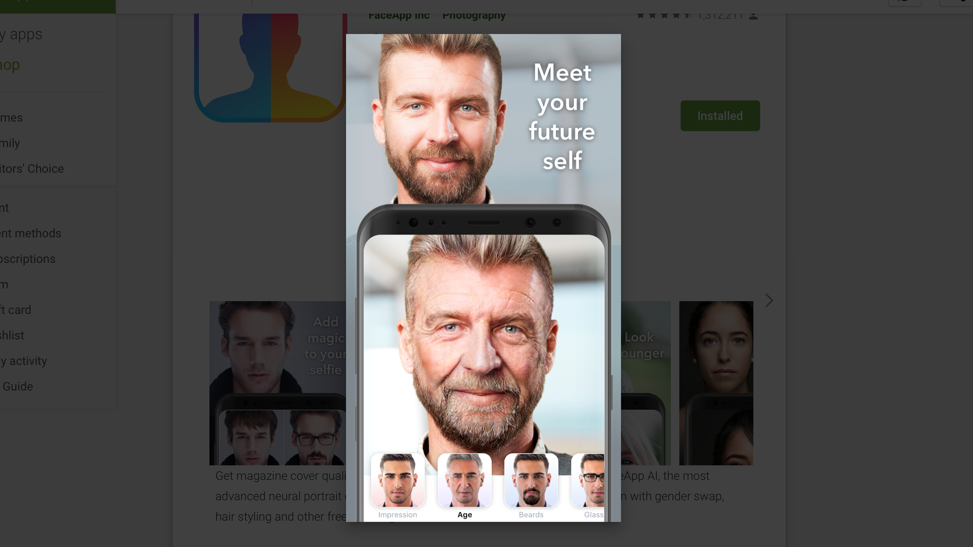 A screenshot of FaceApp on the Google Play store.