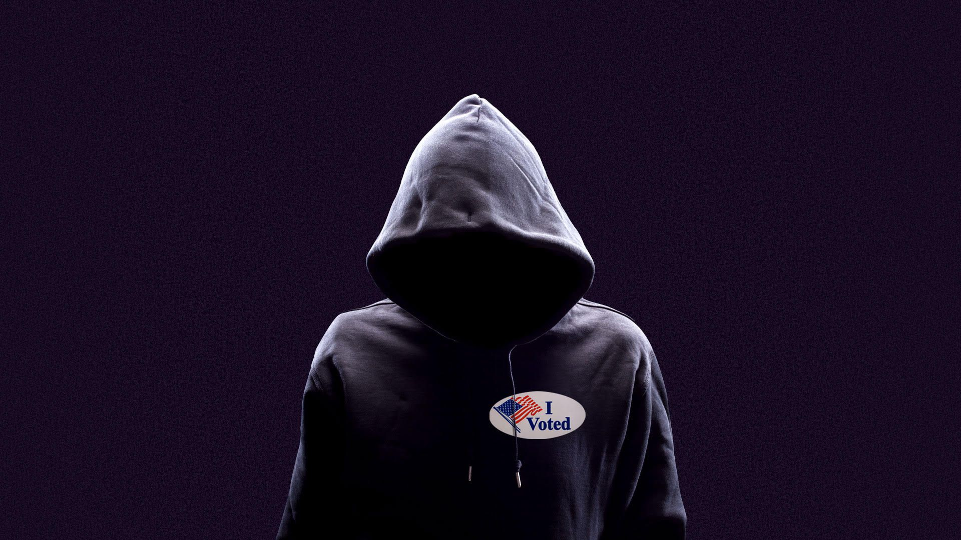 """Illustration of anonymous person in a hoodie with a """"I voted"""" sticker."""