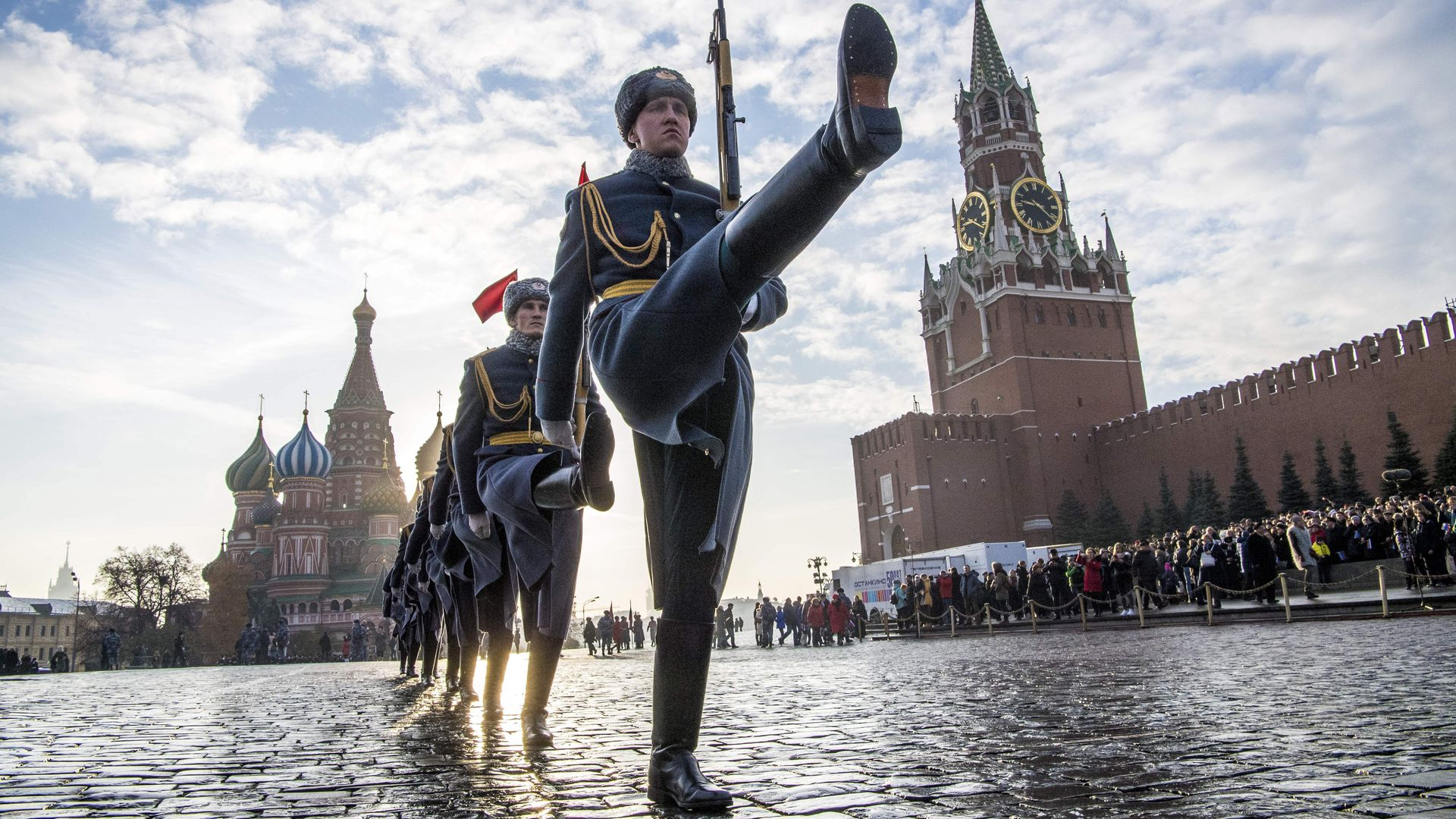 Russian honour guards march during the military parade at Red Square in Moscow