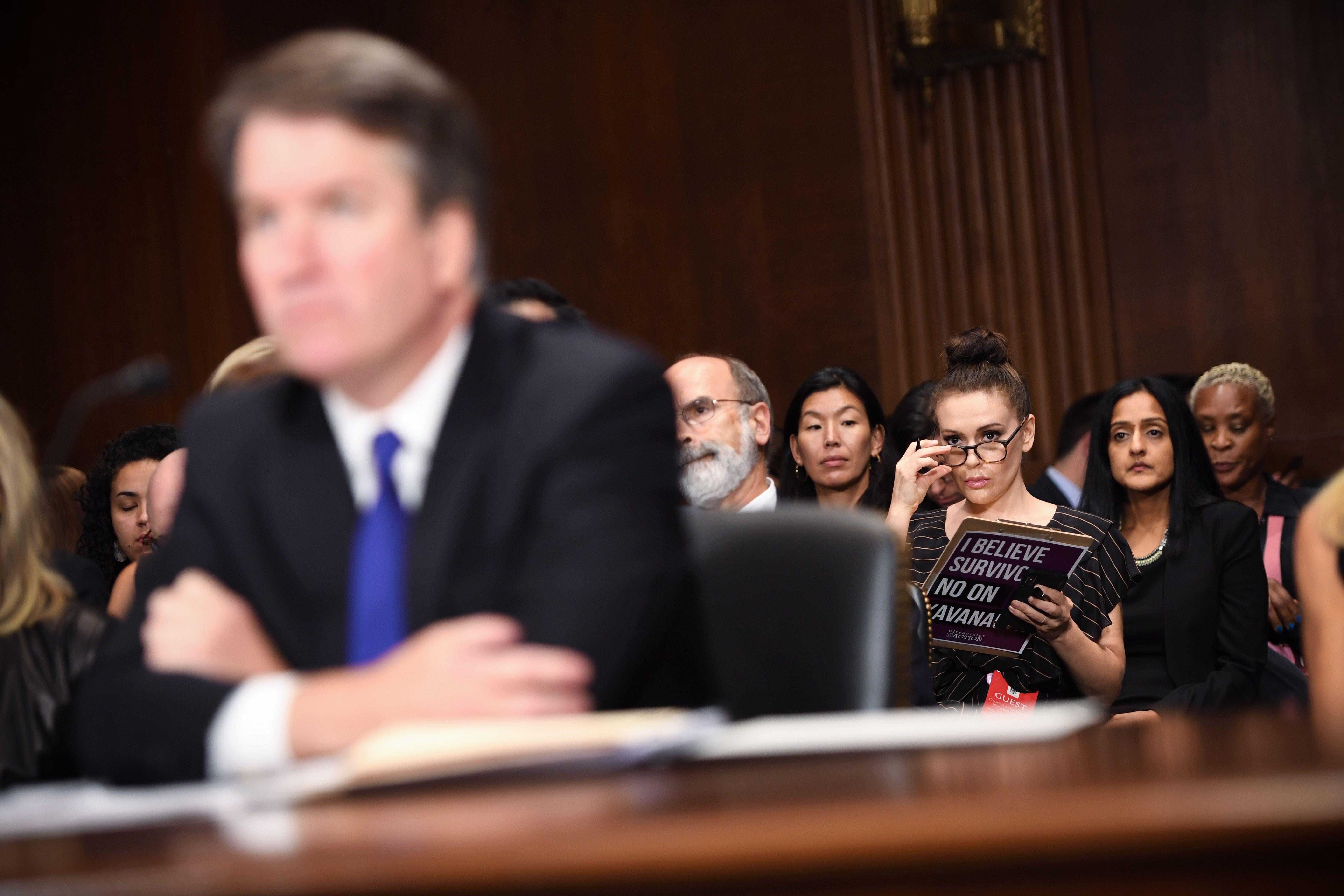 Actress and activist Alyssa Milano listens to Brett Kavanaugh. Photo: Saul Loeb - Pool /Getty Images