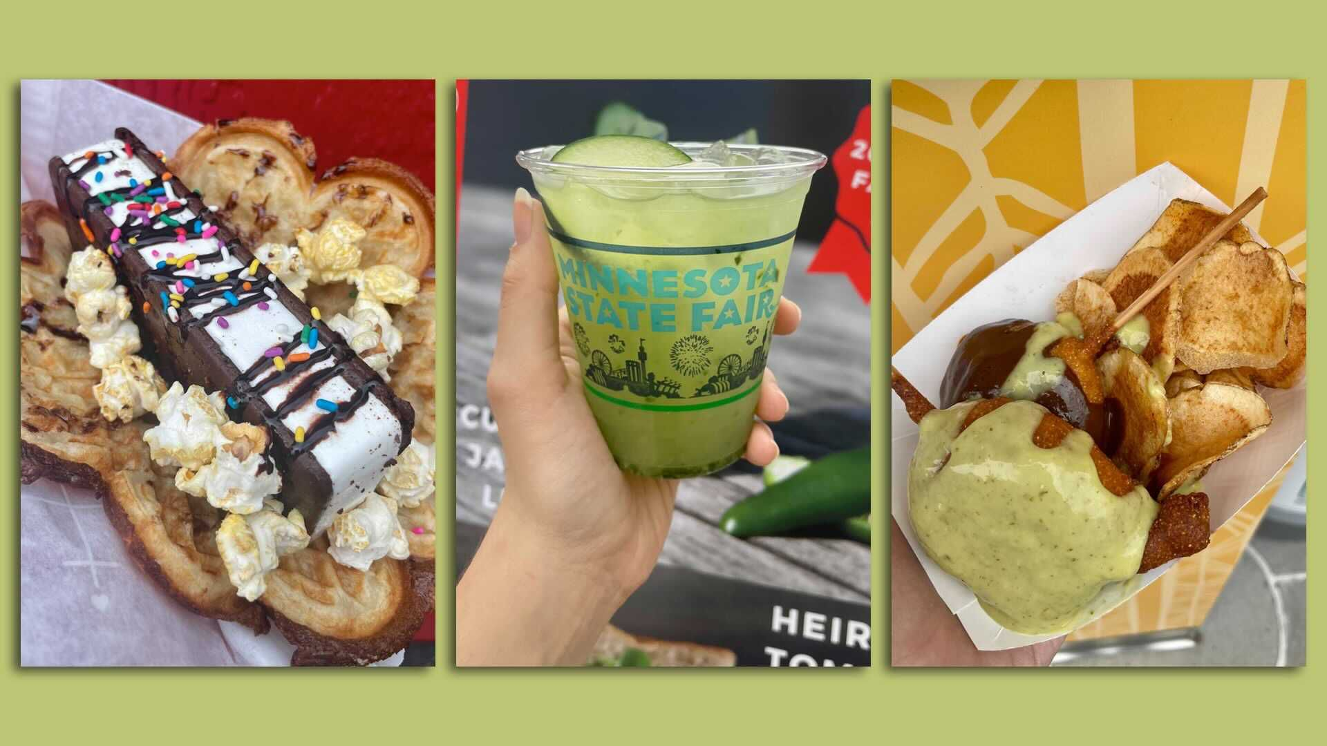 A photo of three foods at the Minnesota State Fair this year.