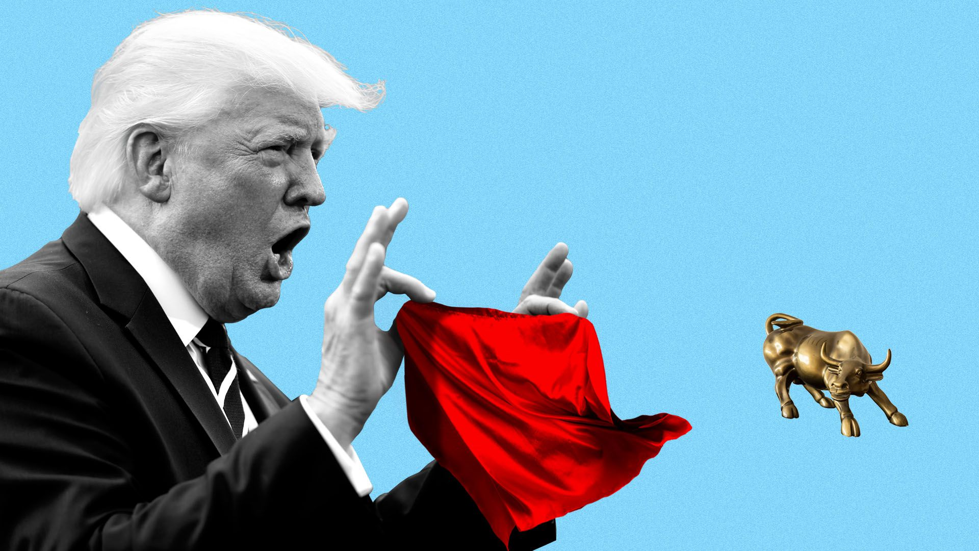 Illustration of President Trump provoking a Wall Street bull with a bullfighter's red muleta.