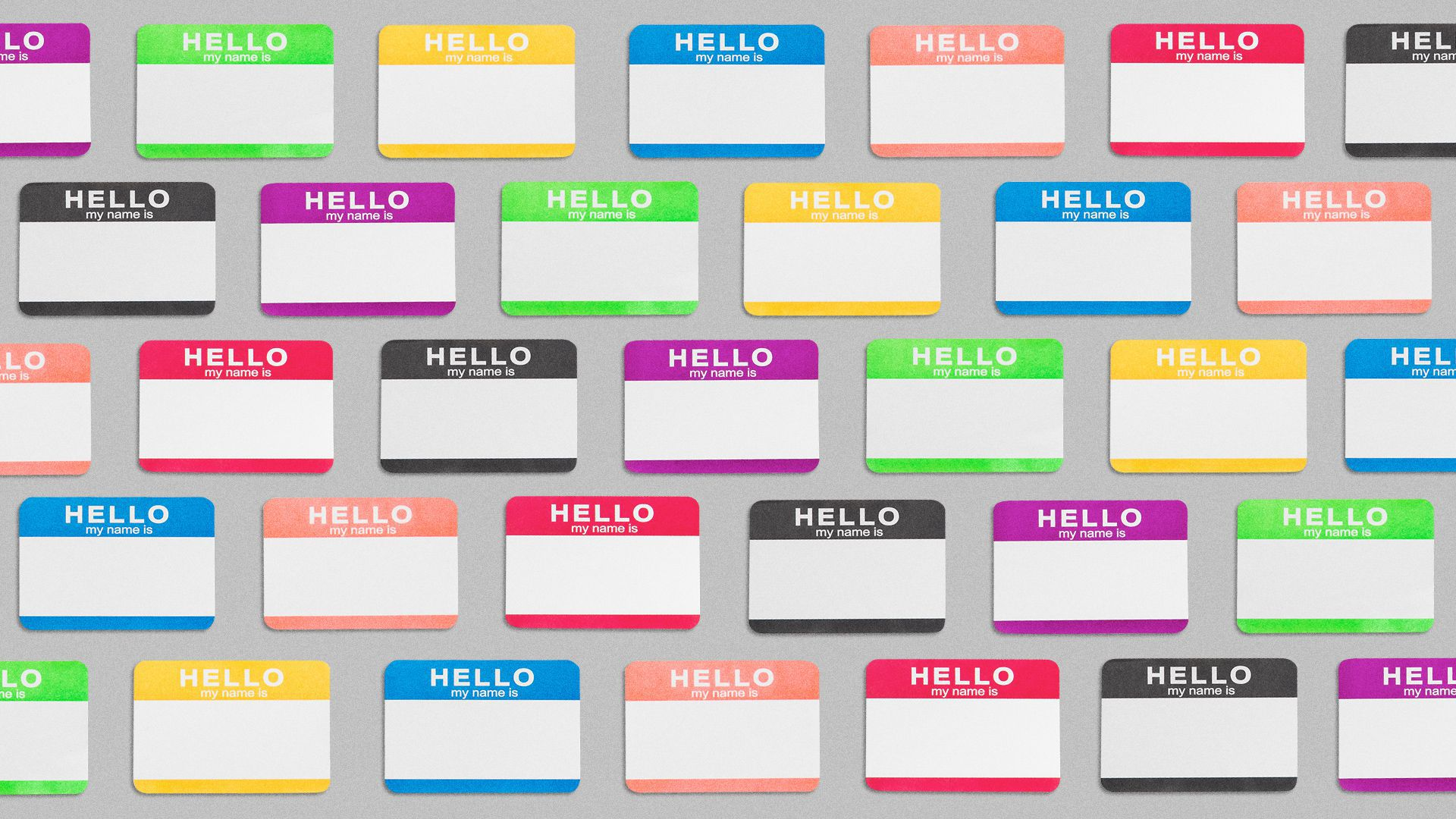 Illustration of a pattern of name tags in different colors.