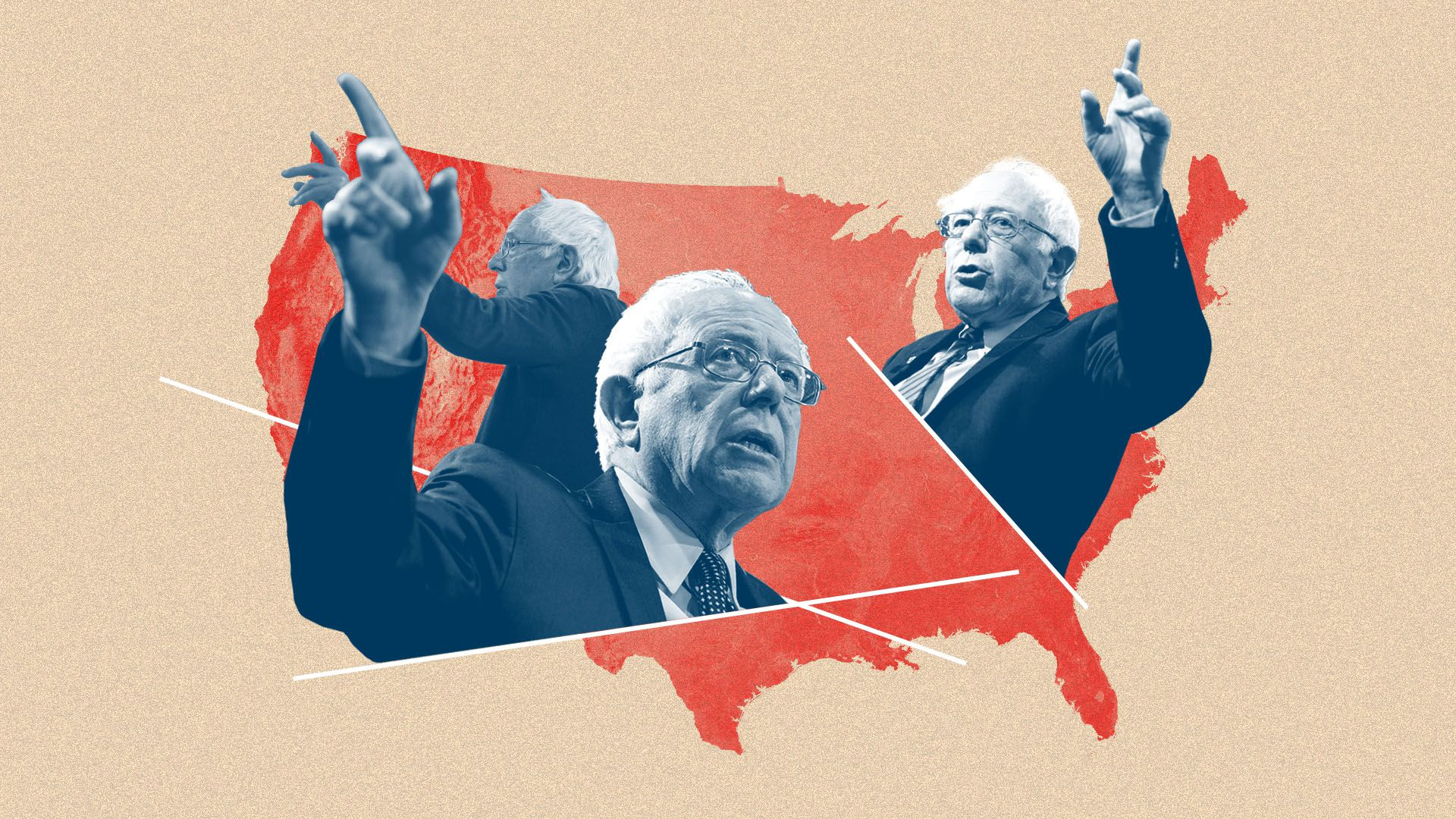 Illustration of multiple Bernie Sanders's hovering over the United States