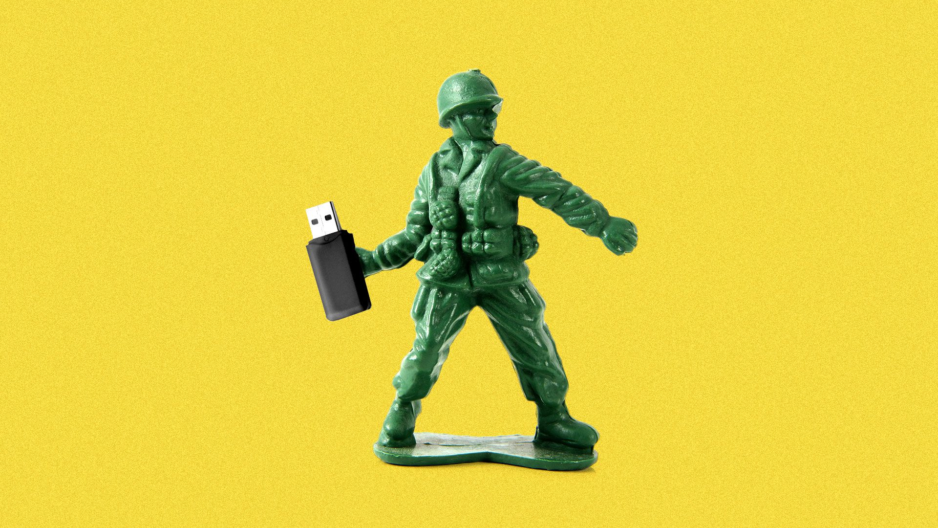 Illustration of a green army man about to throw a USB stick as if it's a grenade.