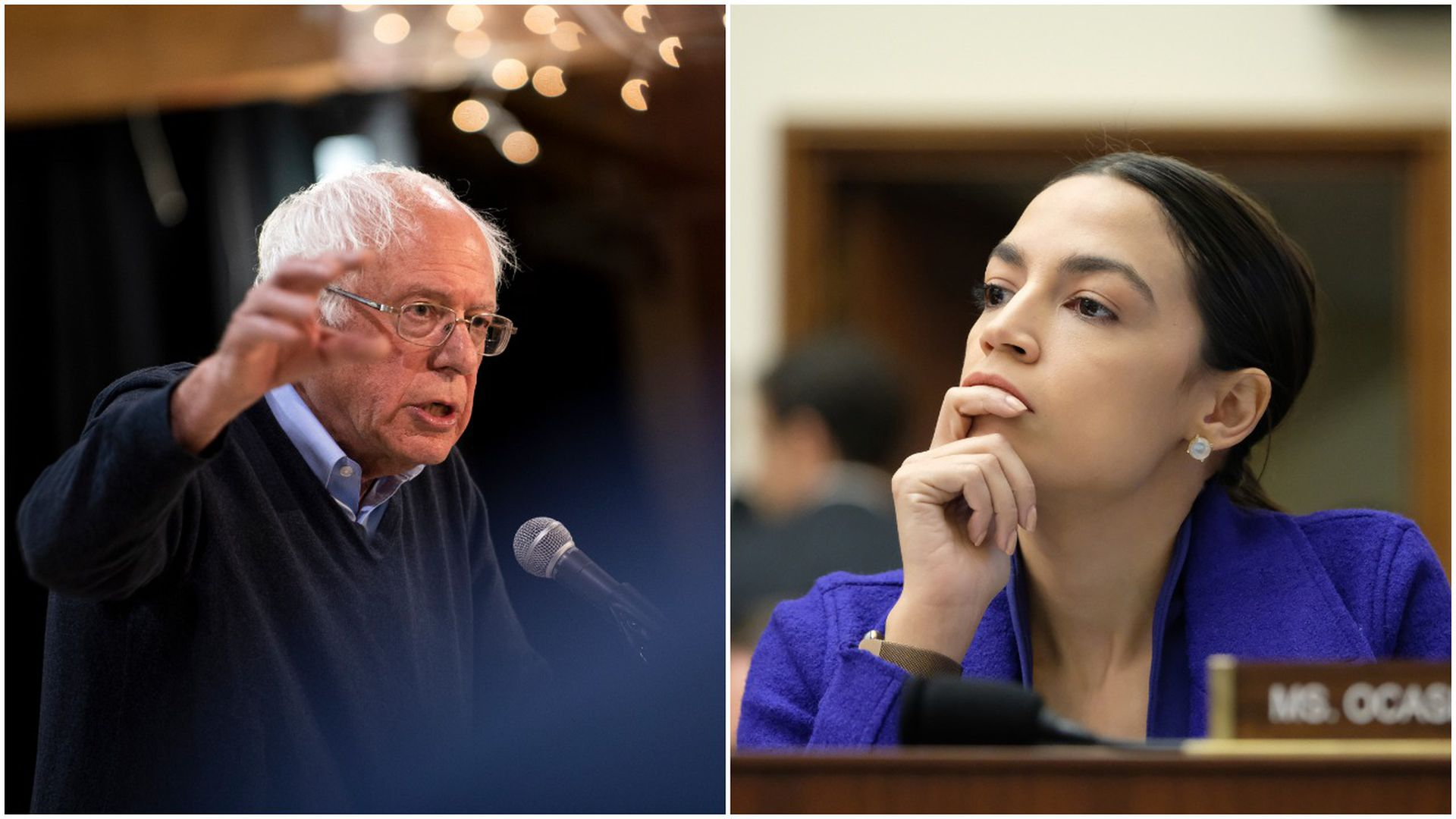 This image is a split-screen of Bernie Sanders and AOC.